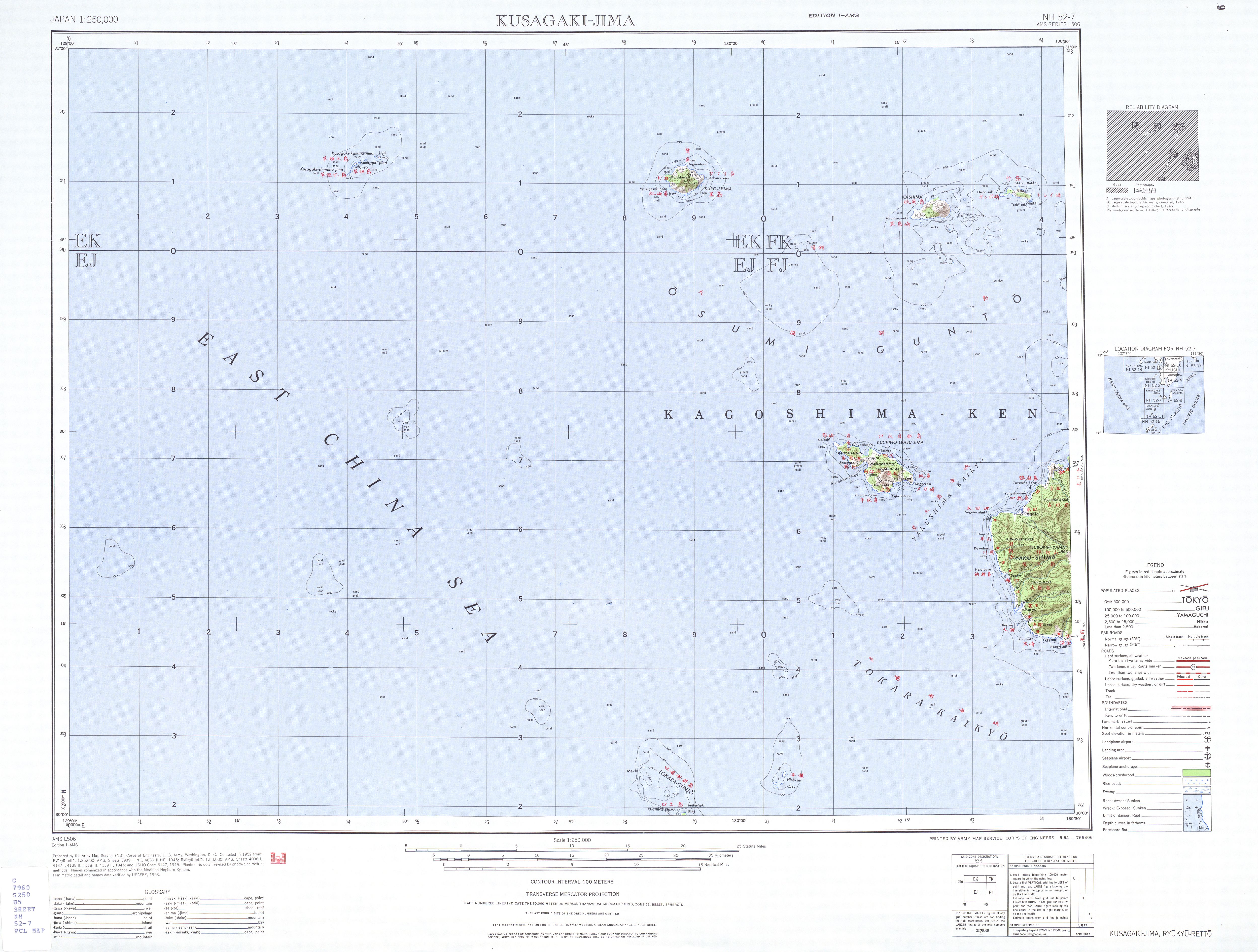 Kusagaki-Jima Topographic Map Sheet, Japan 1954