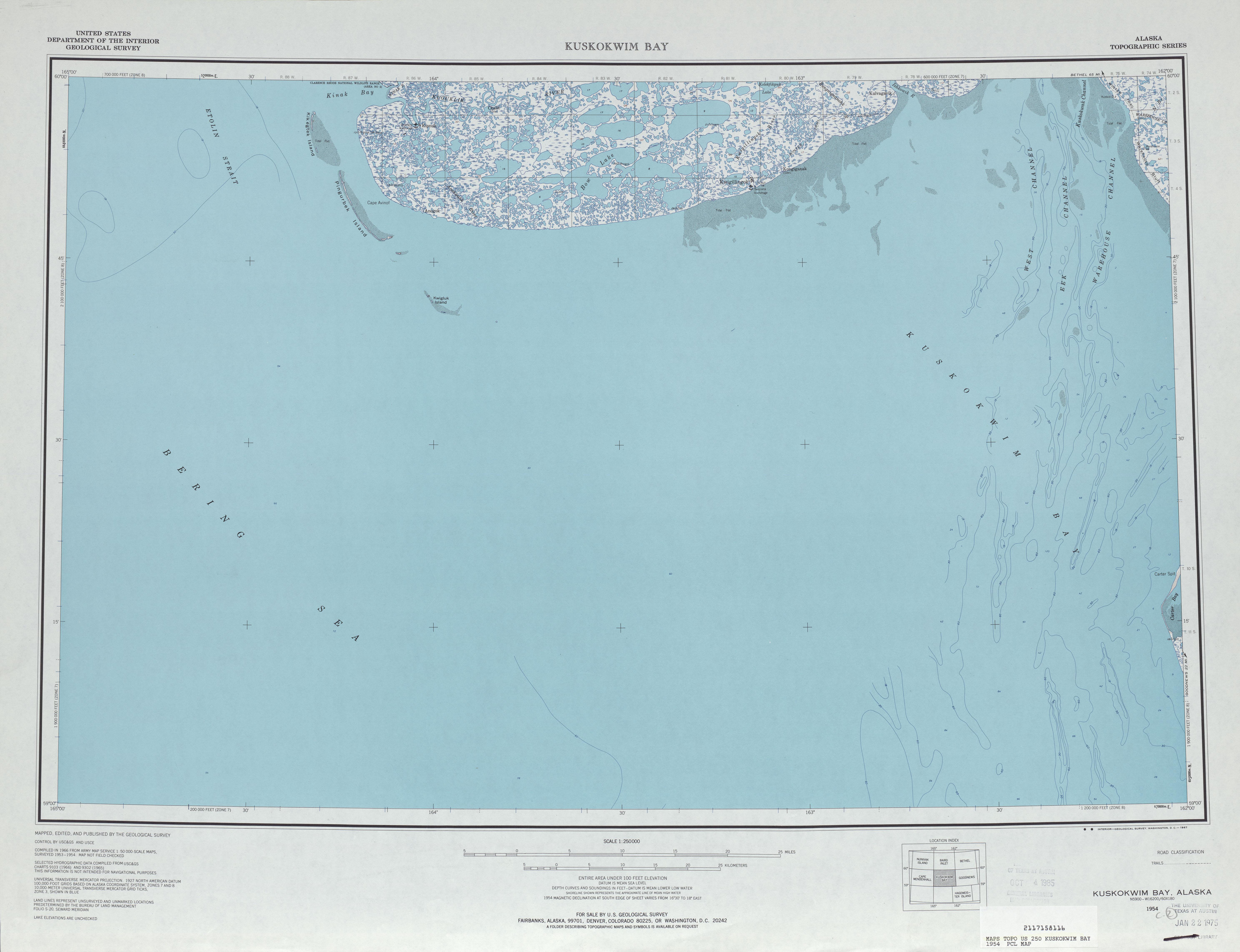 Hoja Kuskokwim Bay del Mapa Topográfico de los Estados Unidos 1954