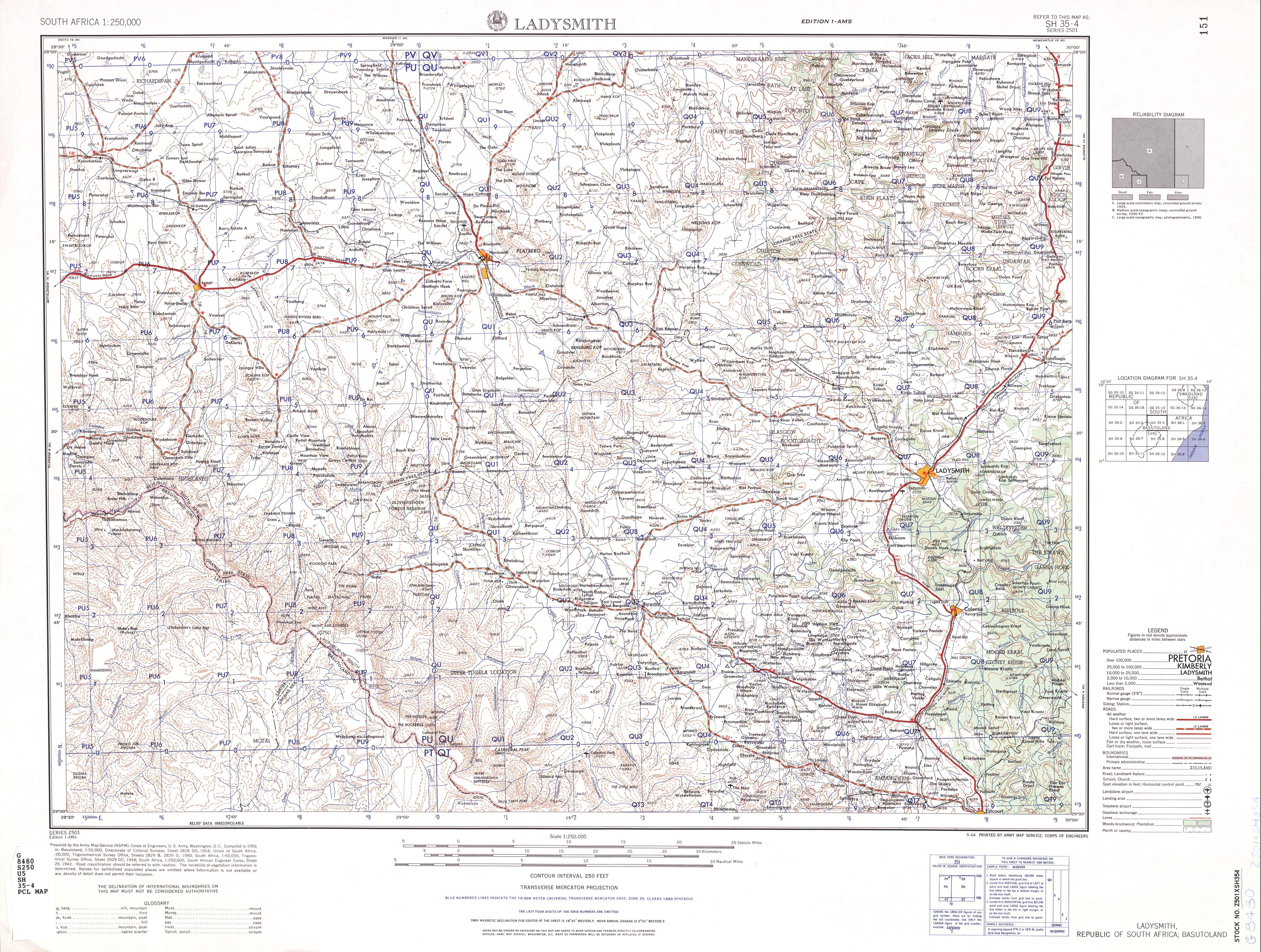 Hoja Ladysmith del Mapa Topográfico de África Meridional 1954