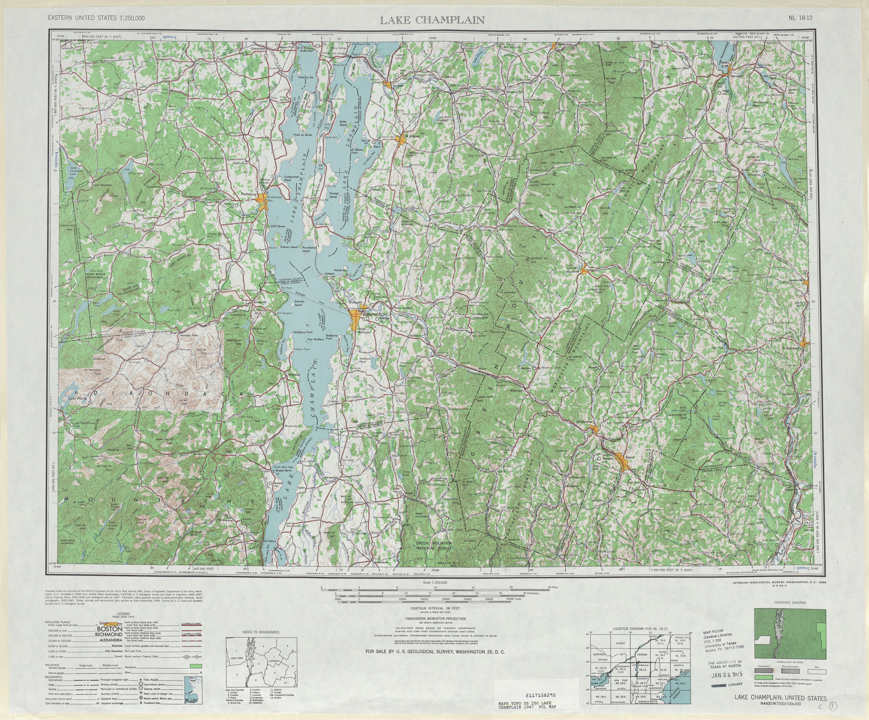 Hoja Lake Champlain del Mapa Topográfico de los Estados Unidos 1947
