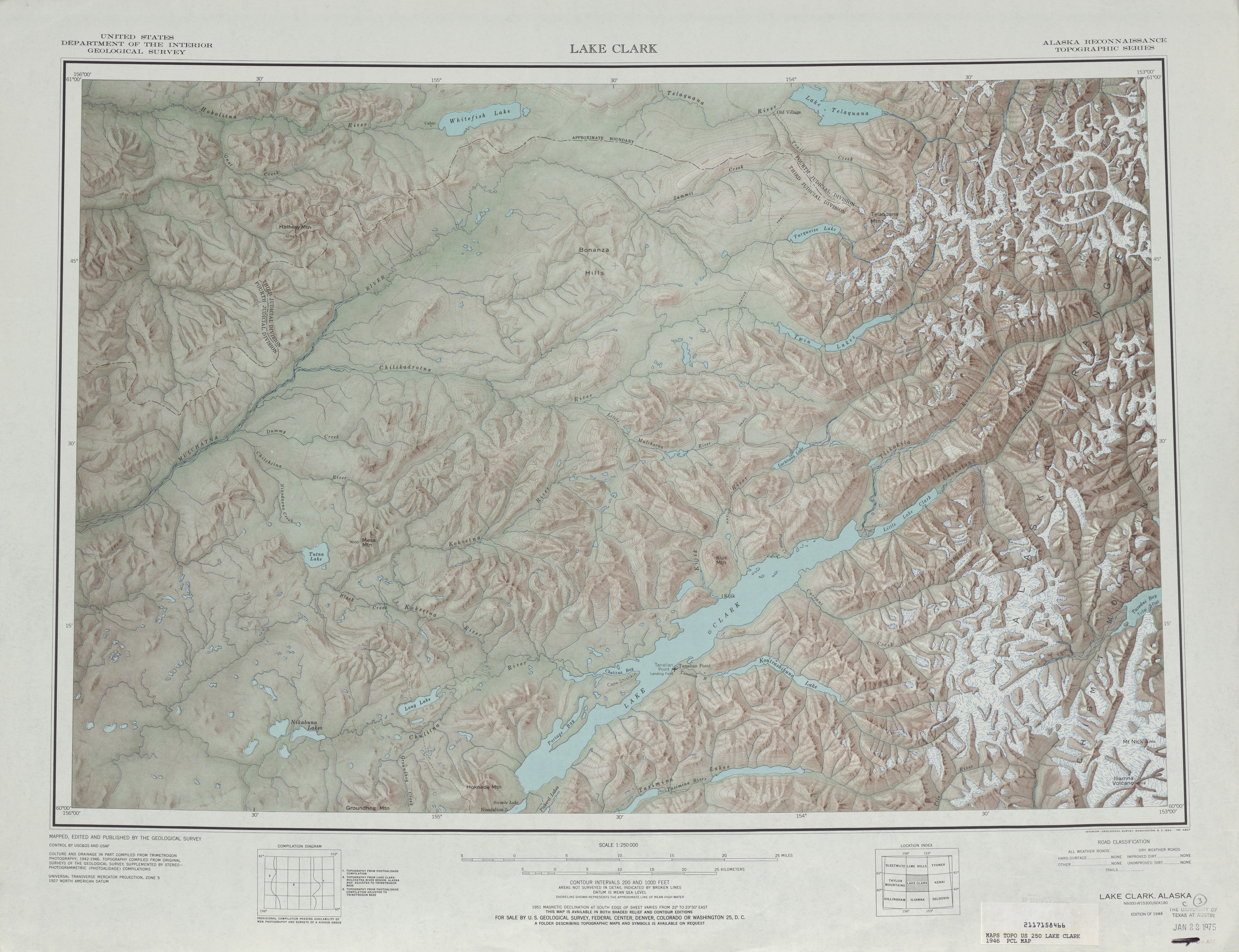 Lake Clark Shaded Relief Map Sheet, United States 1946