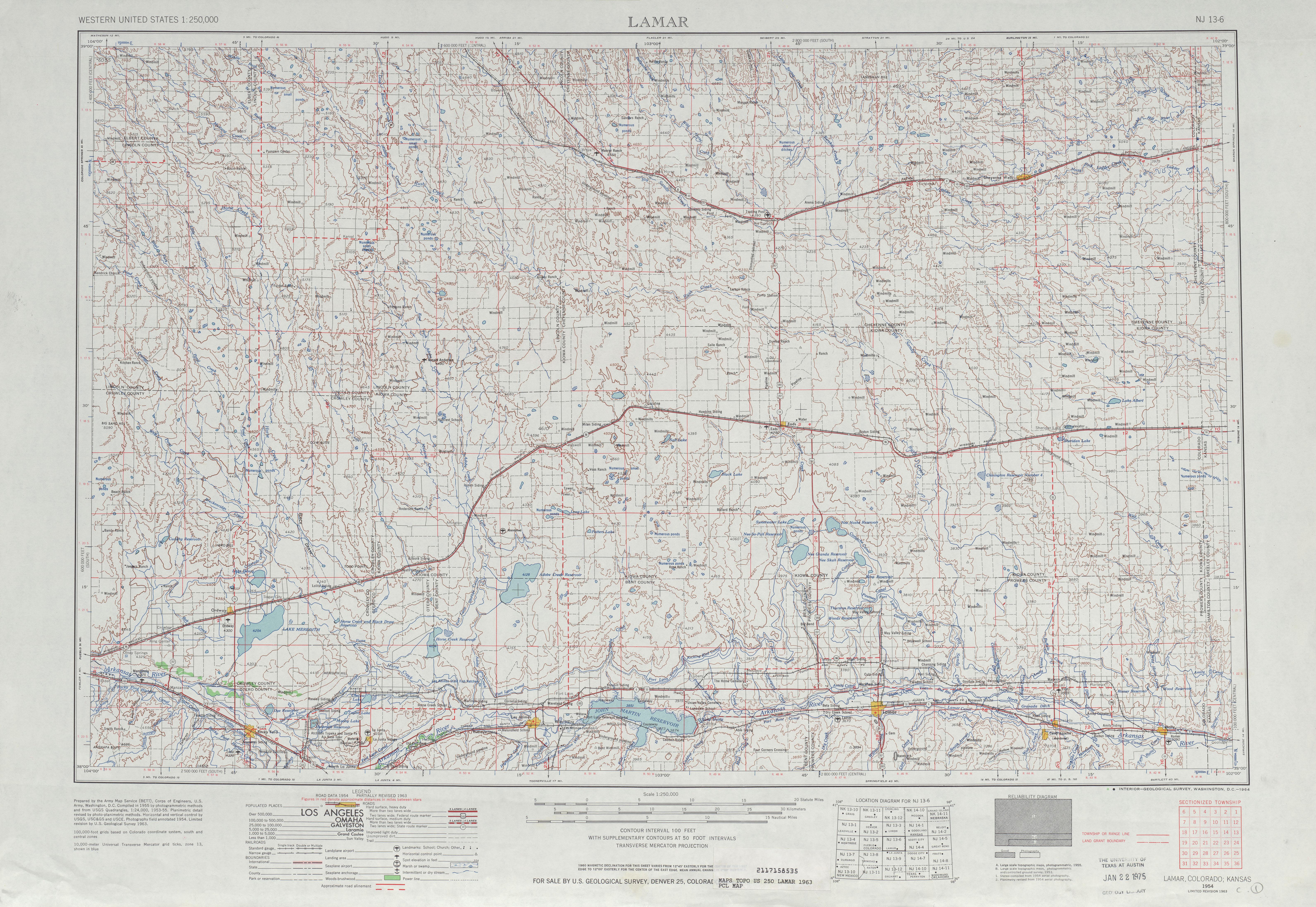 Hoja Lamar del Mapa Topográfico de los Estados Unidos 1963