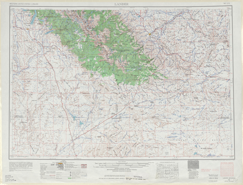 Lander Topographic Map Sheet, United States 1961