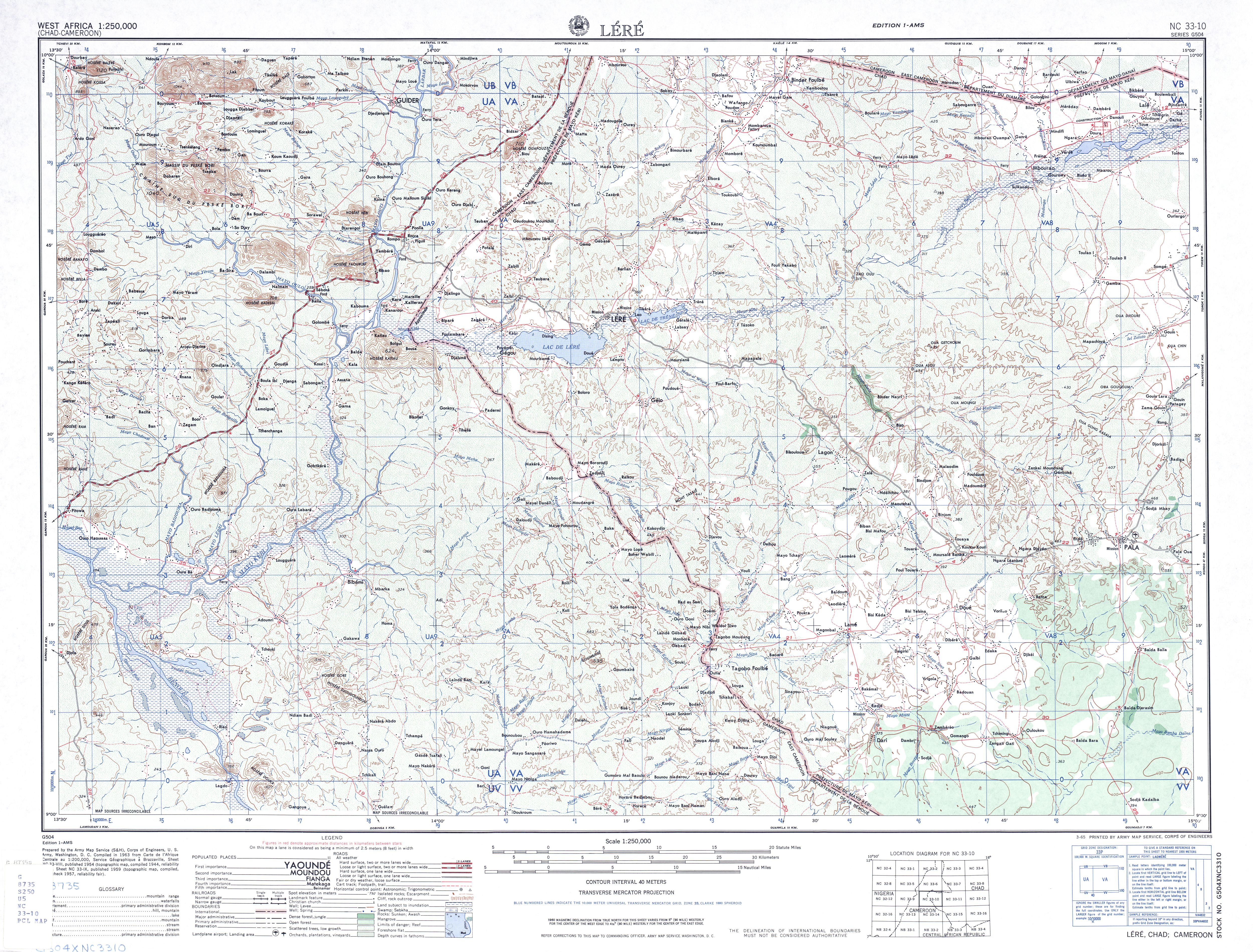 Hoja Lere del Mapa Topográfico de África Occidental 1955