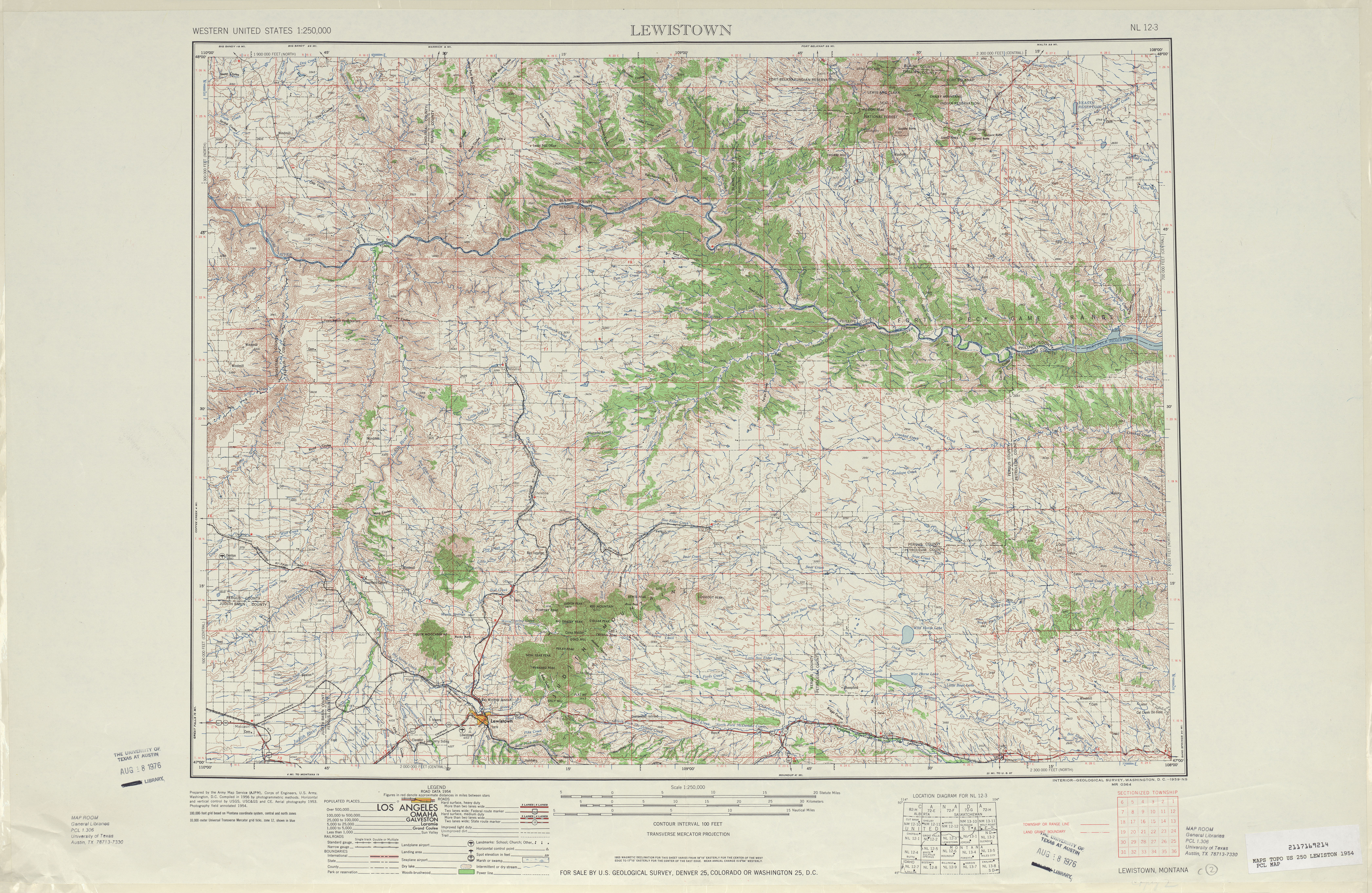 Lewiston Topographic Map Sheet, United States 1954