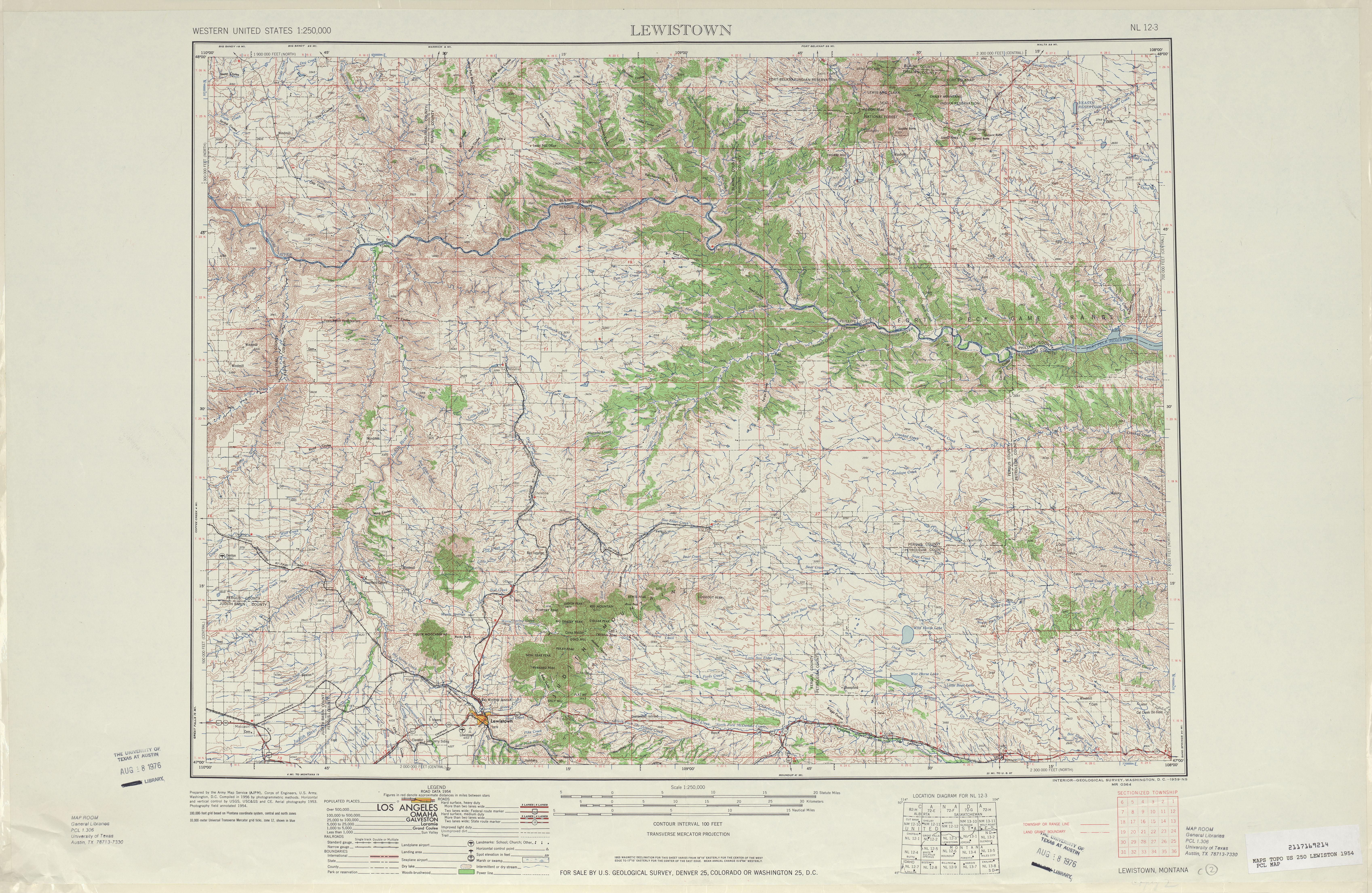 Hoja Lewiston del Mapa Topográfico de los Estados Unidos 1954