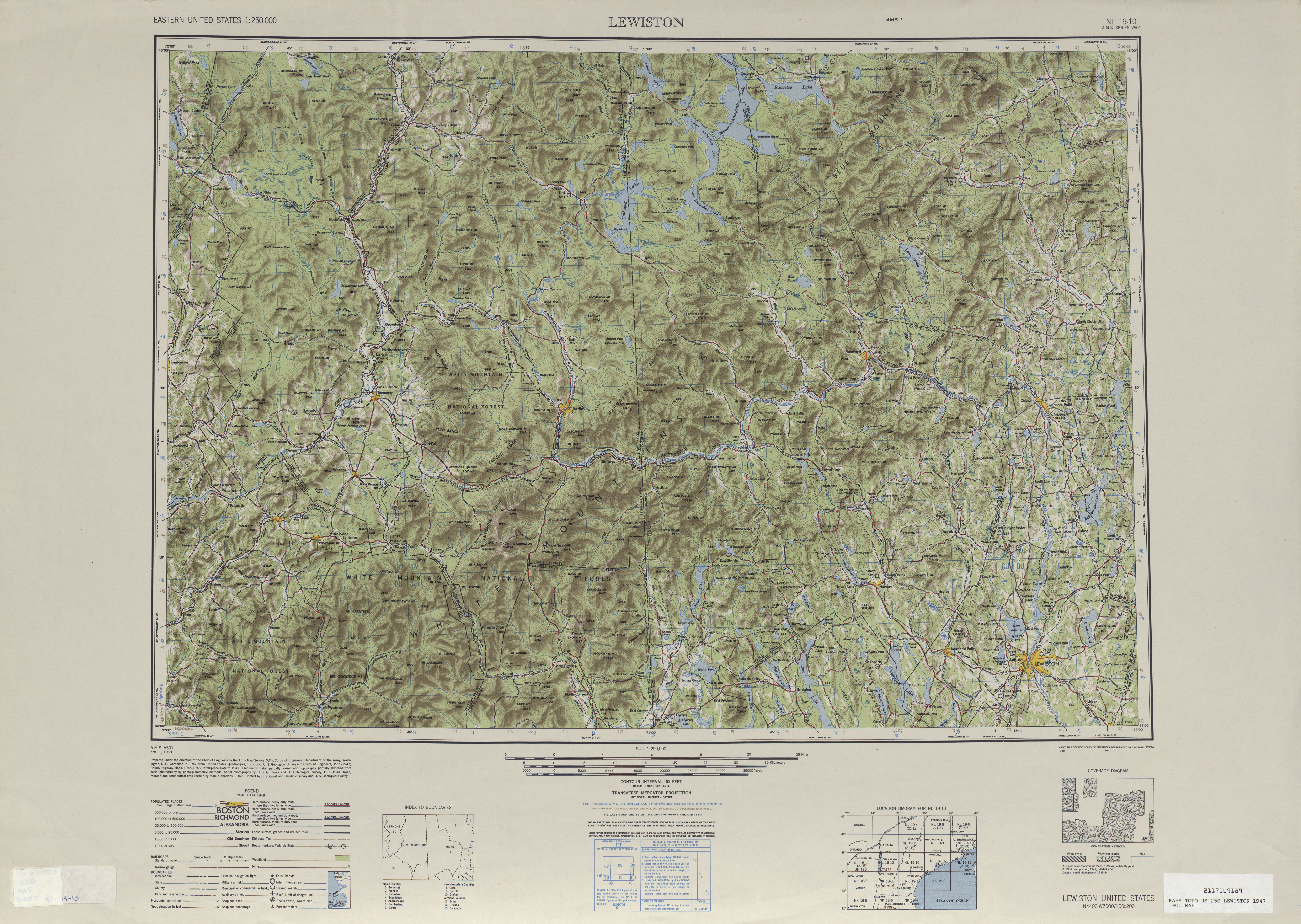 Lewiston Shaded Relief Map Sheet, United States 1947