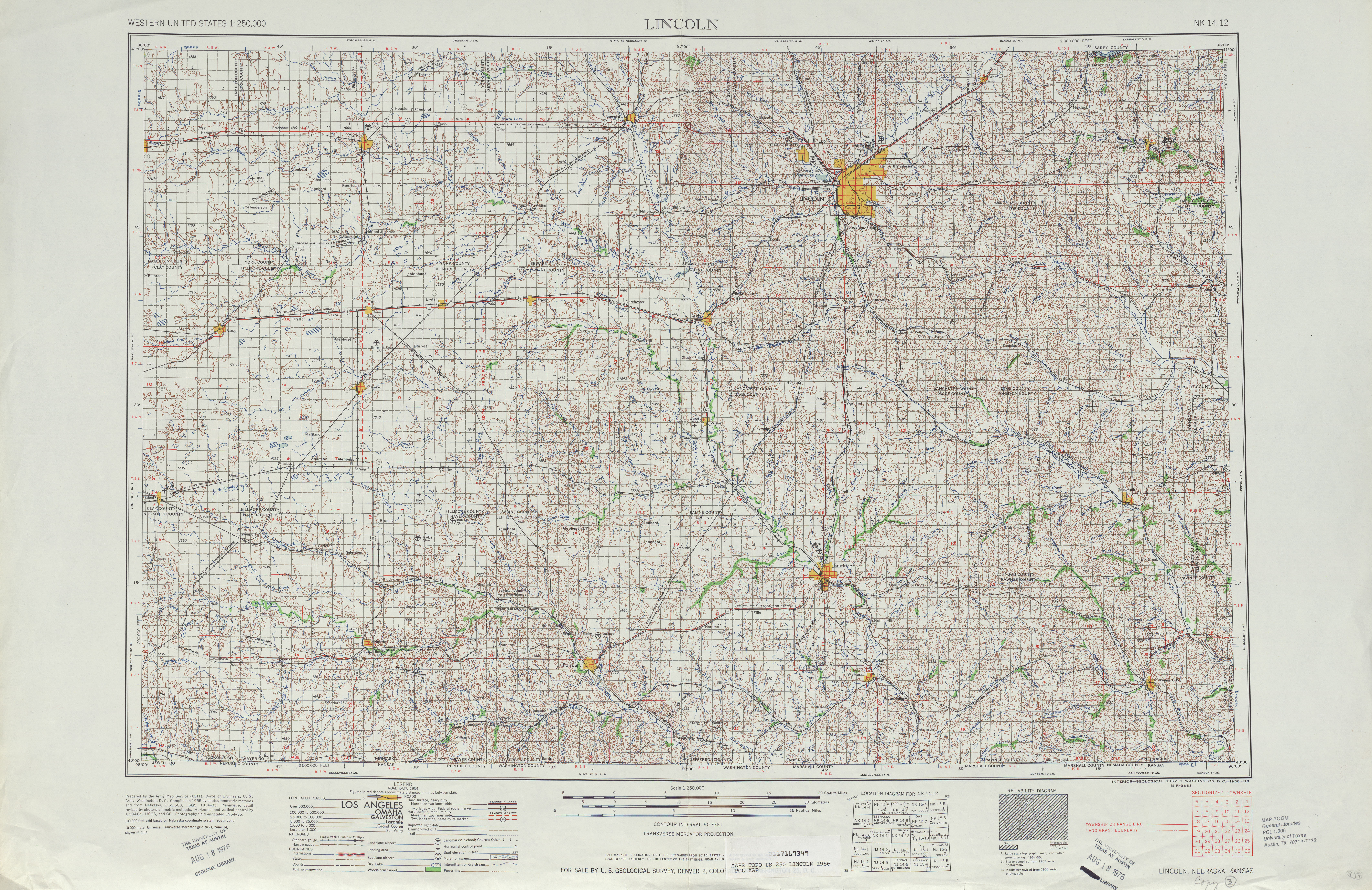 Hoja Lincoln del Mapa Topográfico de los Estados Unidos 1956