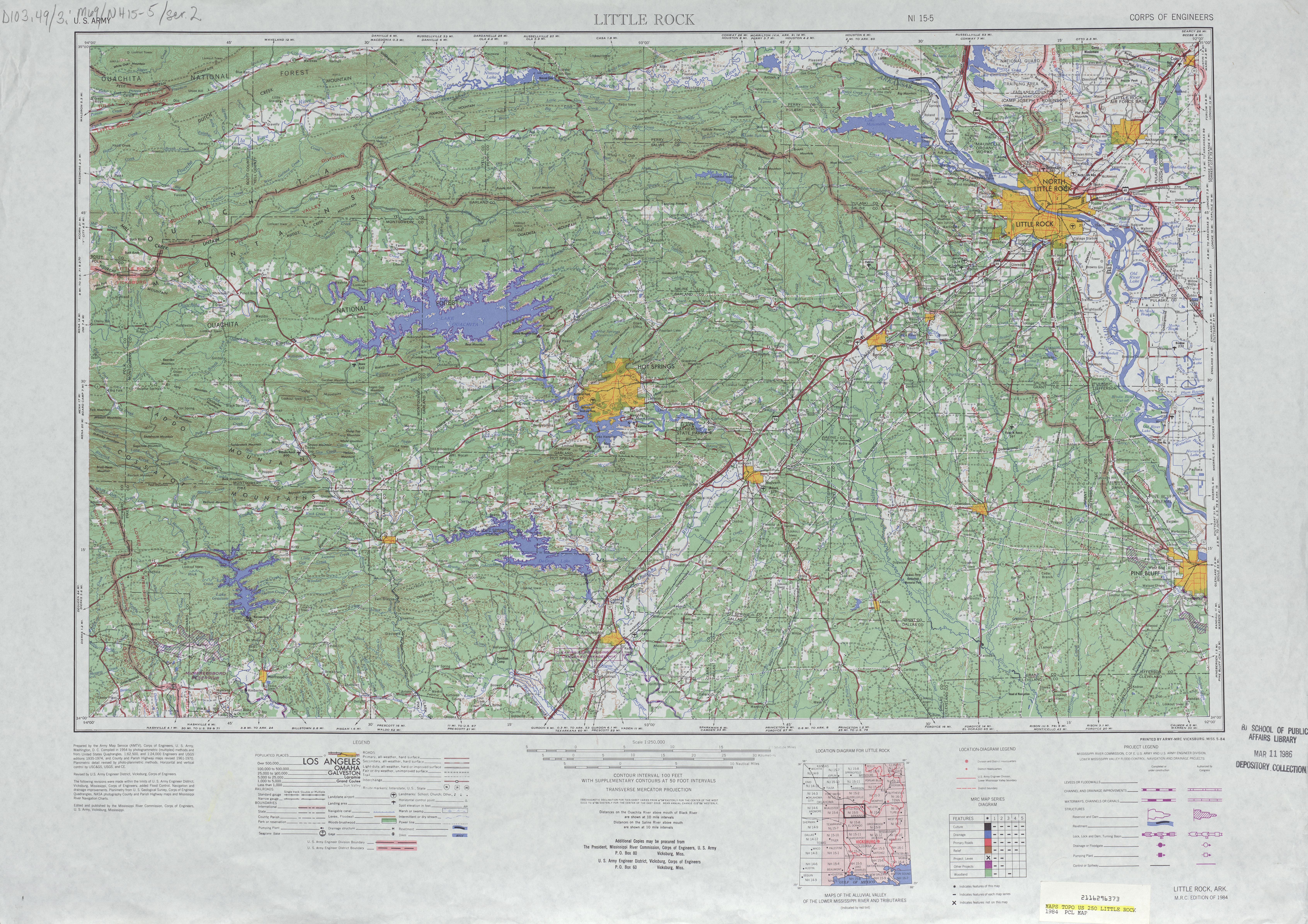 Hoja Little Rock del Mapa Topográfico de los Estados Unidos 1984