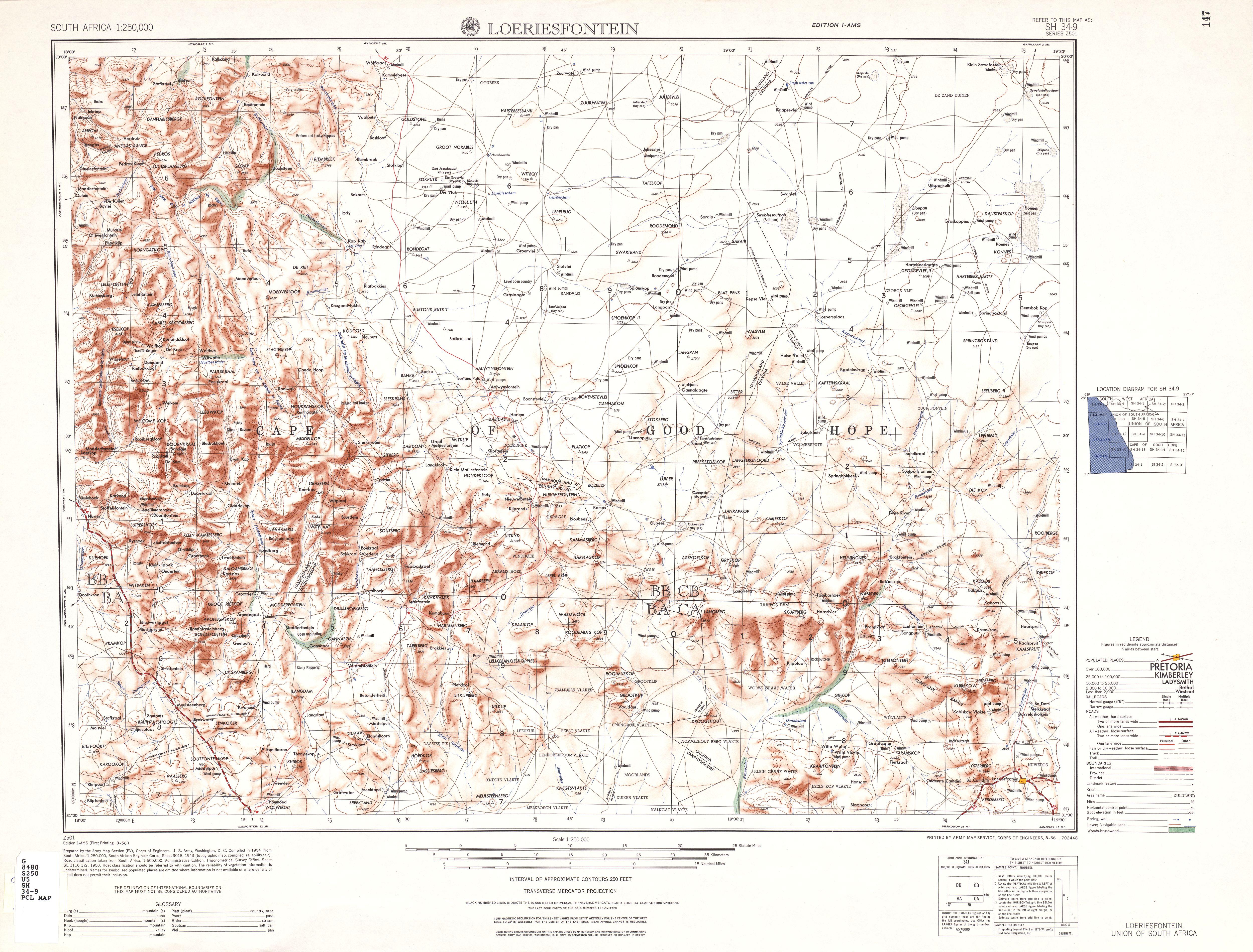 Hoja Loeriesfontein del Mapa Topográfico de África Meridional 1954