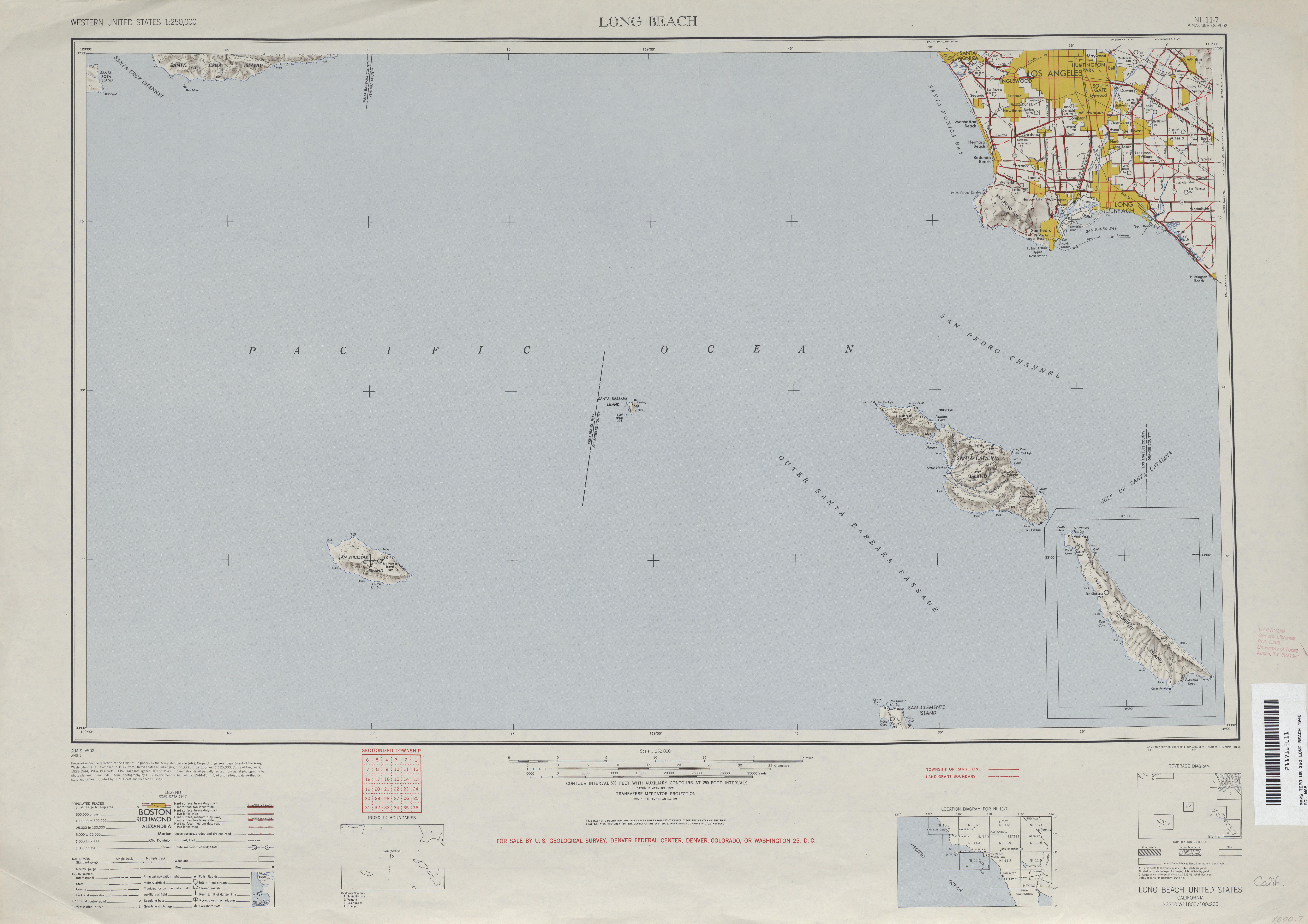 Hoja Long Beach del Mapa Topográfico de los Estados Unidos 1946