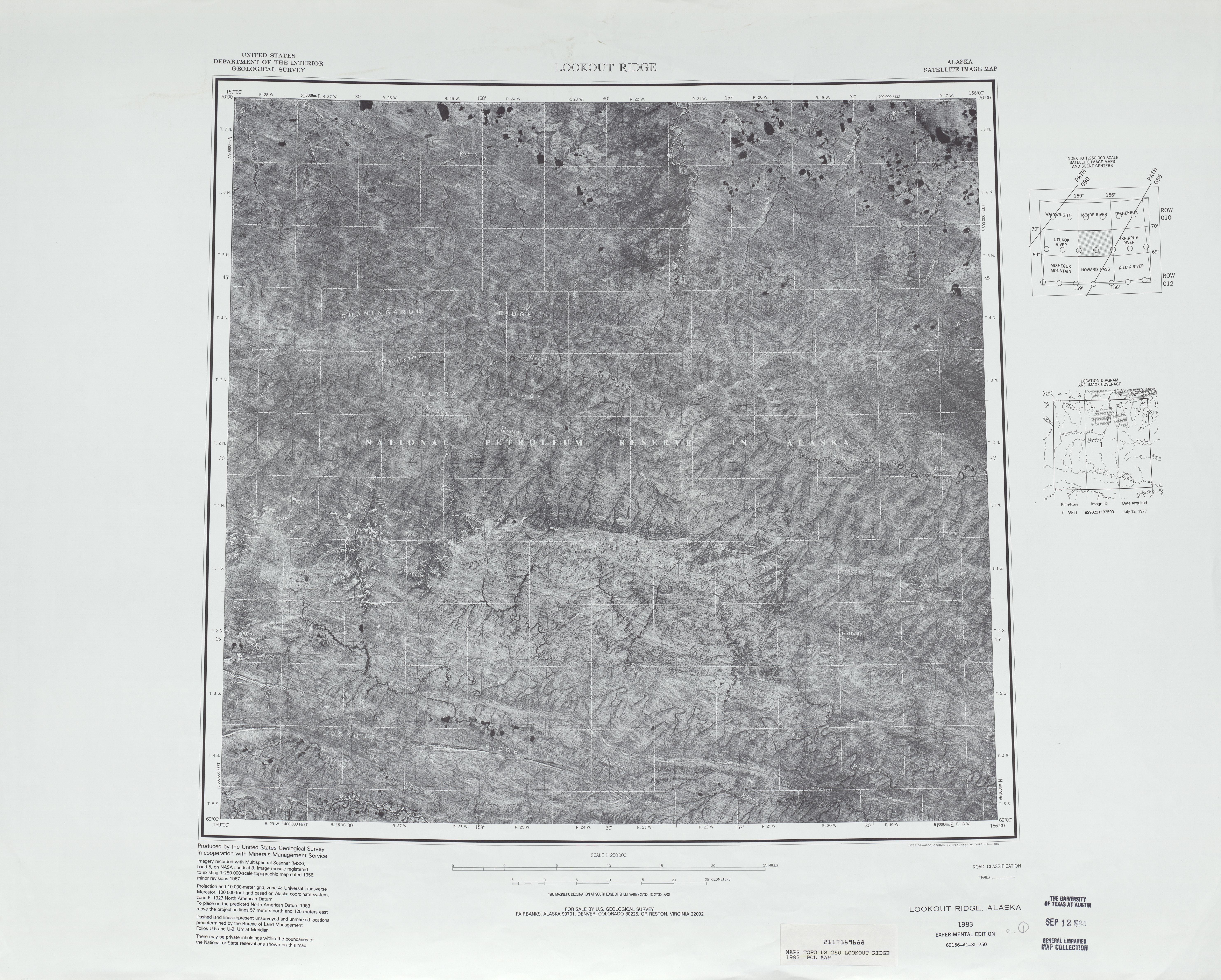 Hoja Lookout Ridge de la Imagen Satelital de los Estados Unidos 1983