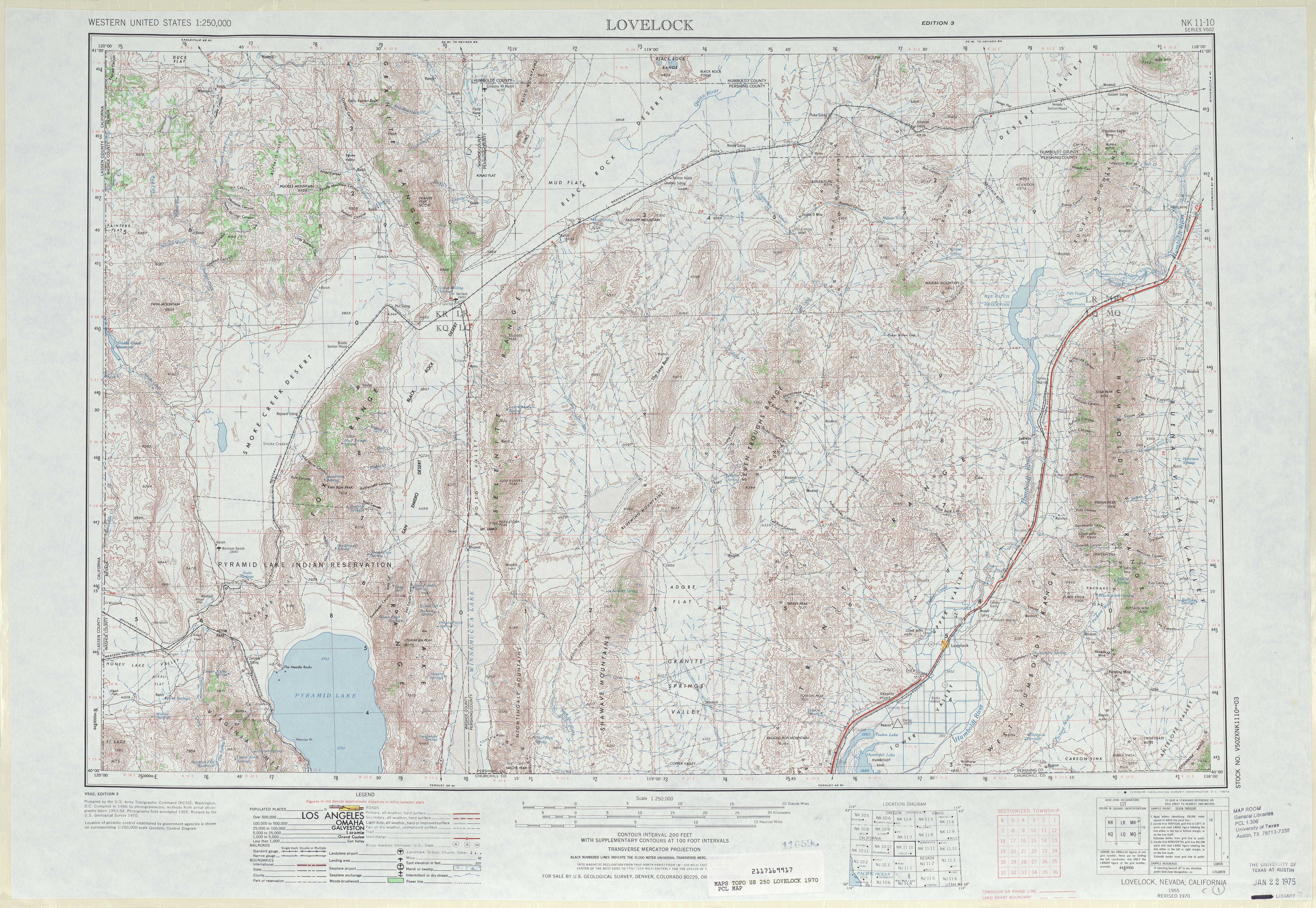 Hoja Lovelock del Mapa Topográfico de los Estados Unidos 1970