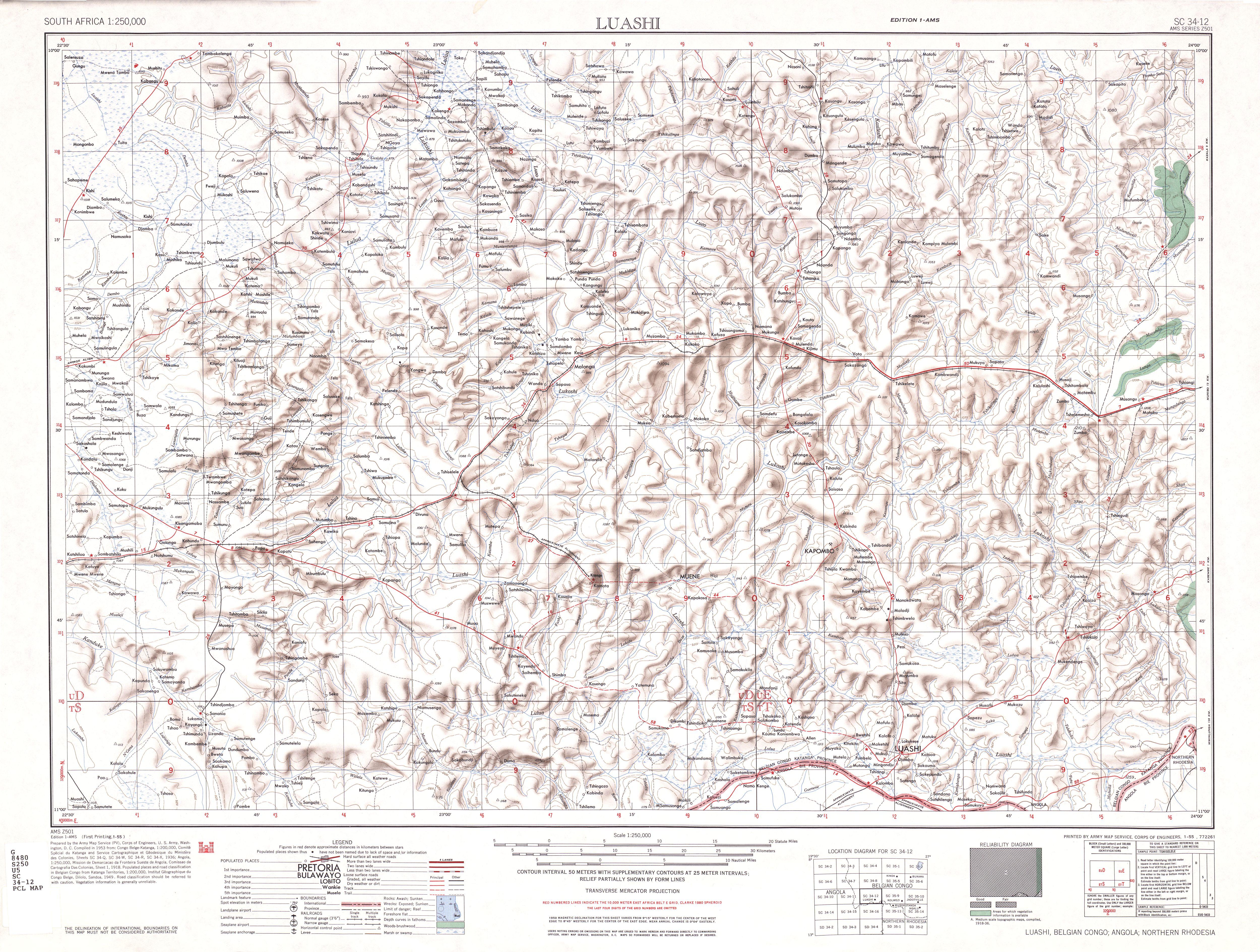Hoja Luashi del Mapa Topográfico de África Meridional 1954