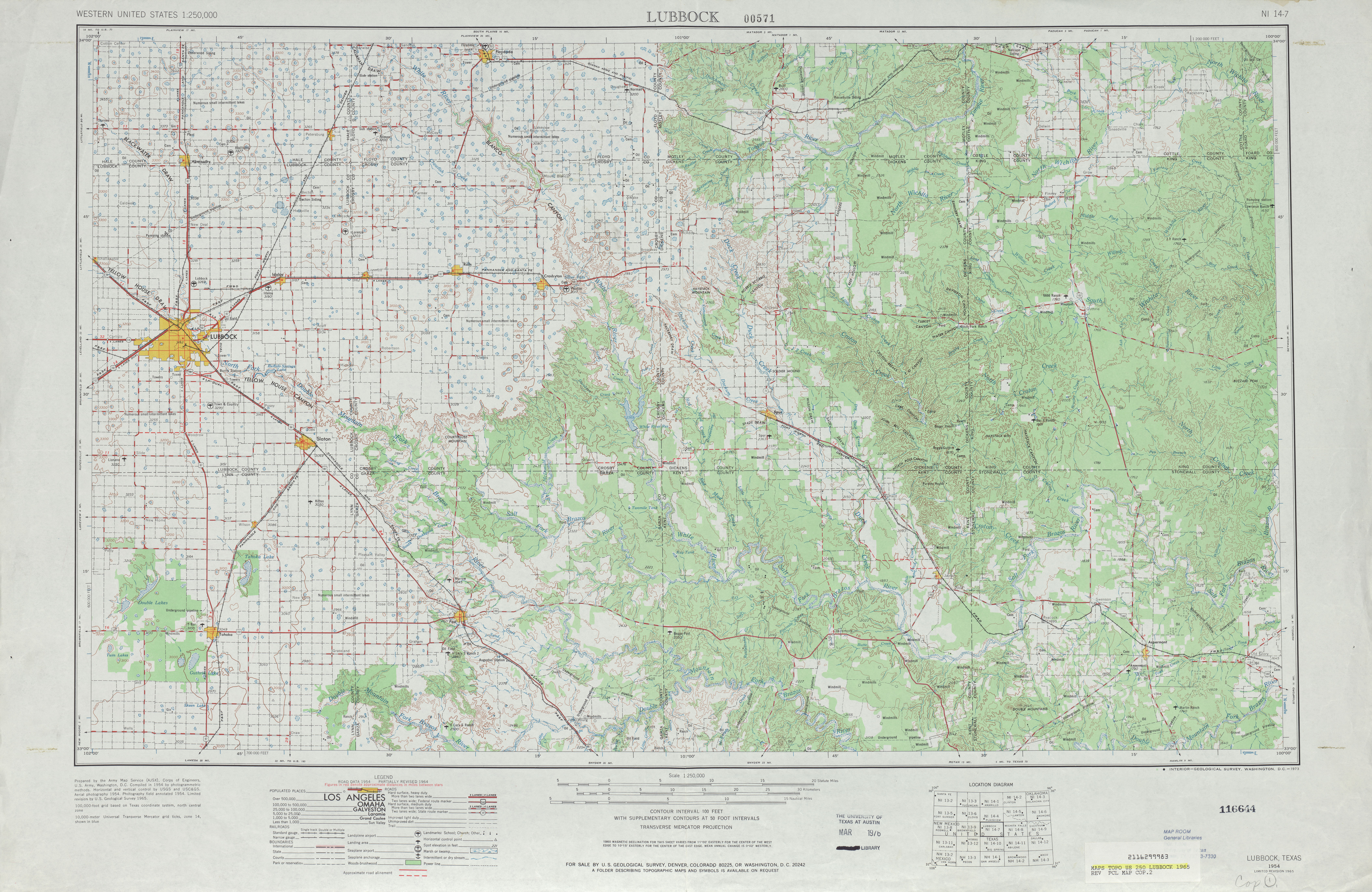 Lubbock Topographic Map Sheet, United States 1965