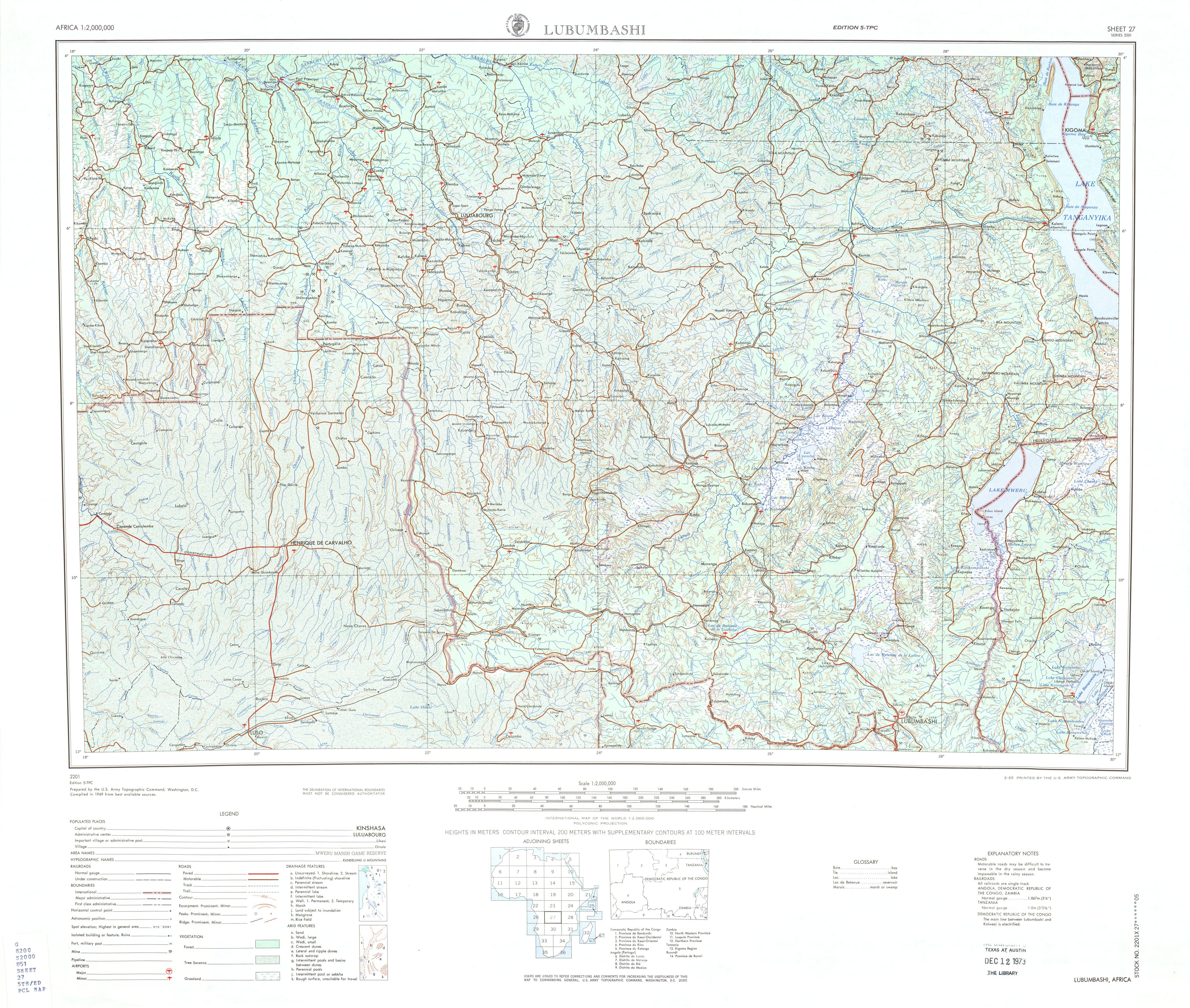 Hoja Lubumbashi del Mapa Topográfico de África 1969