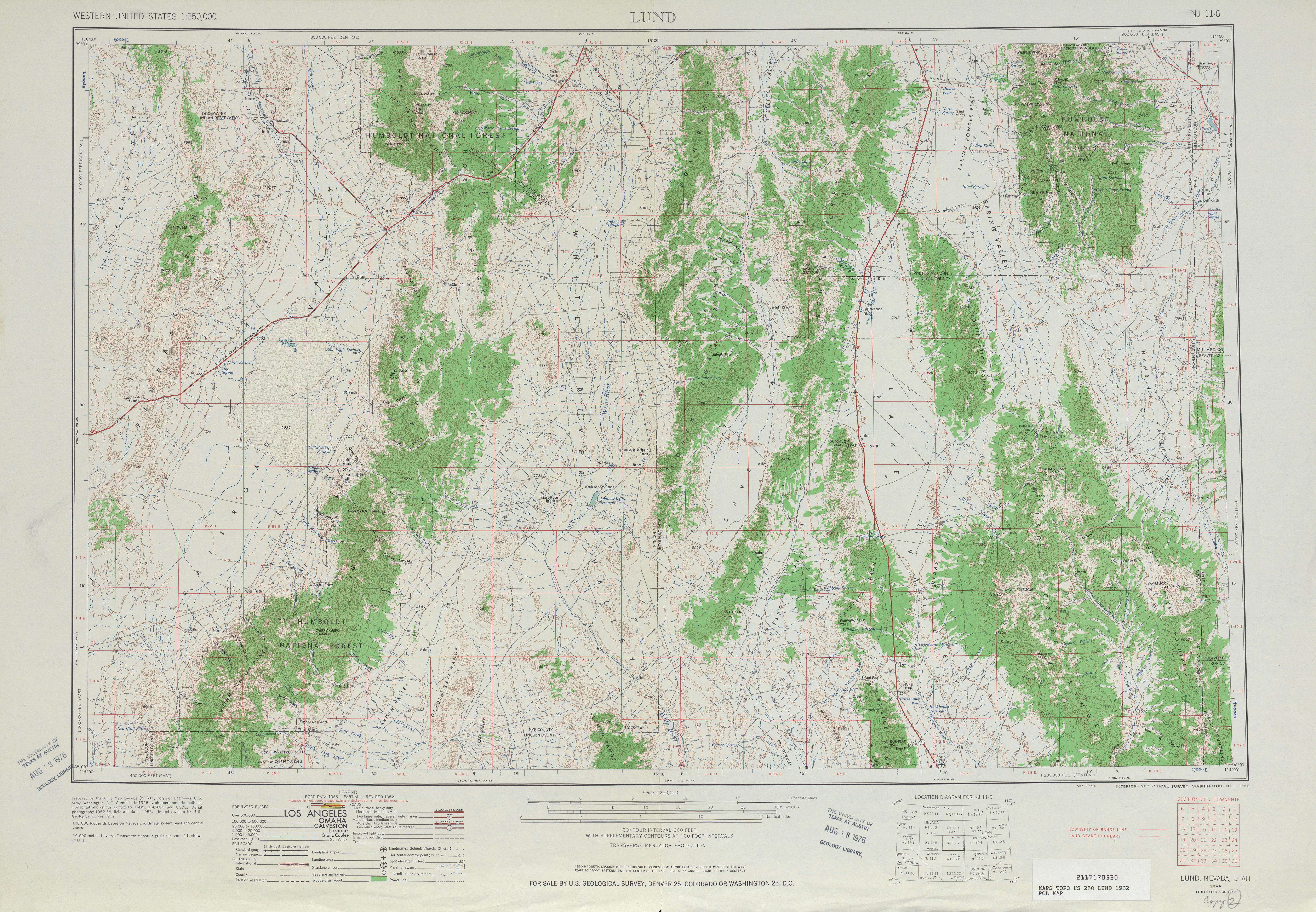 Hoja Lund del Mapa Topográfico de los Estados Unidos 1962