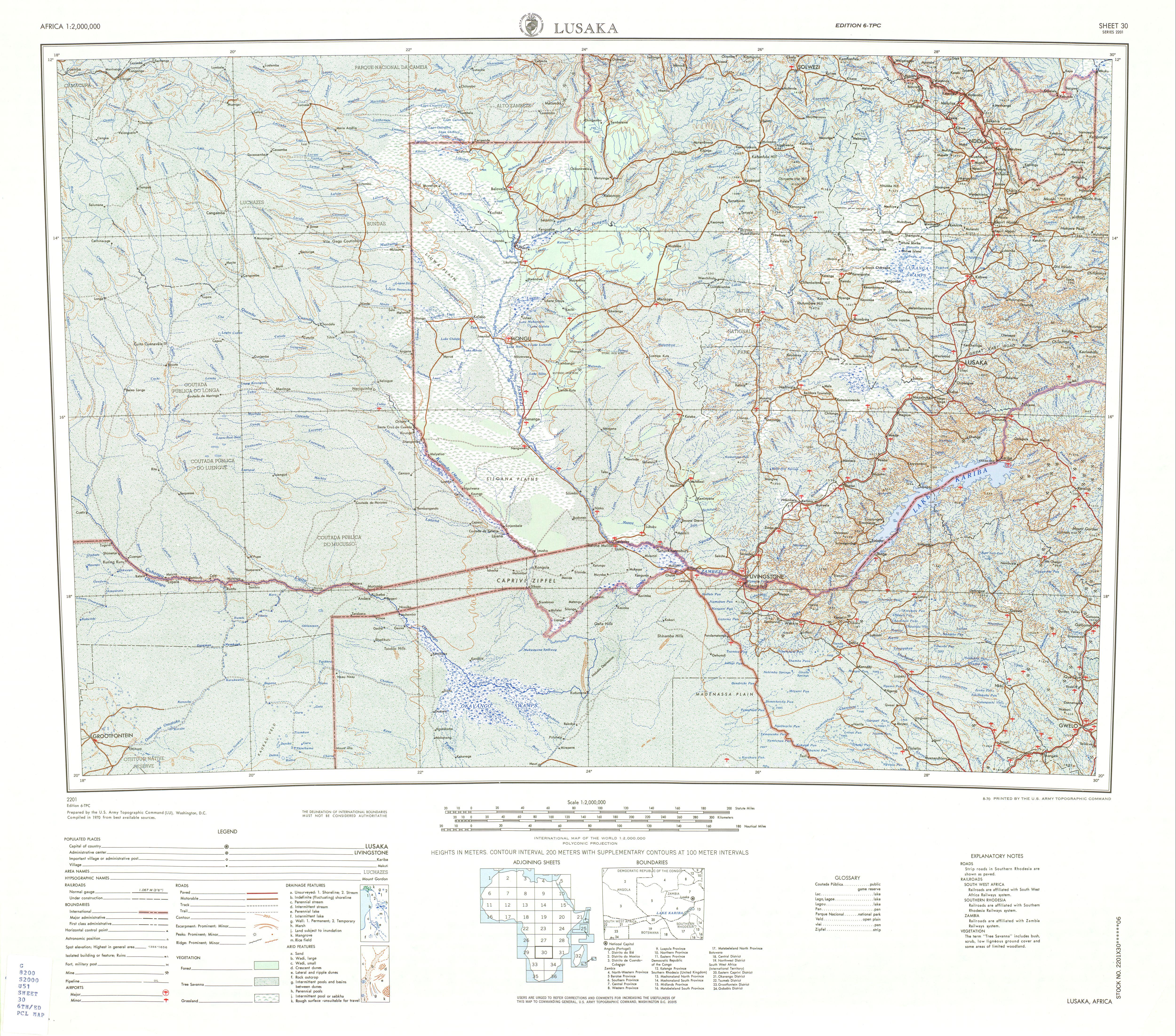 Lusaka Topographic Sheet Map, Africa 1970
