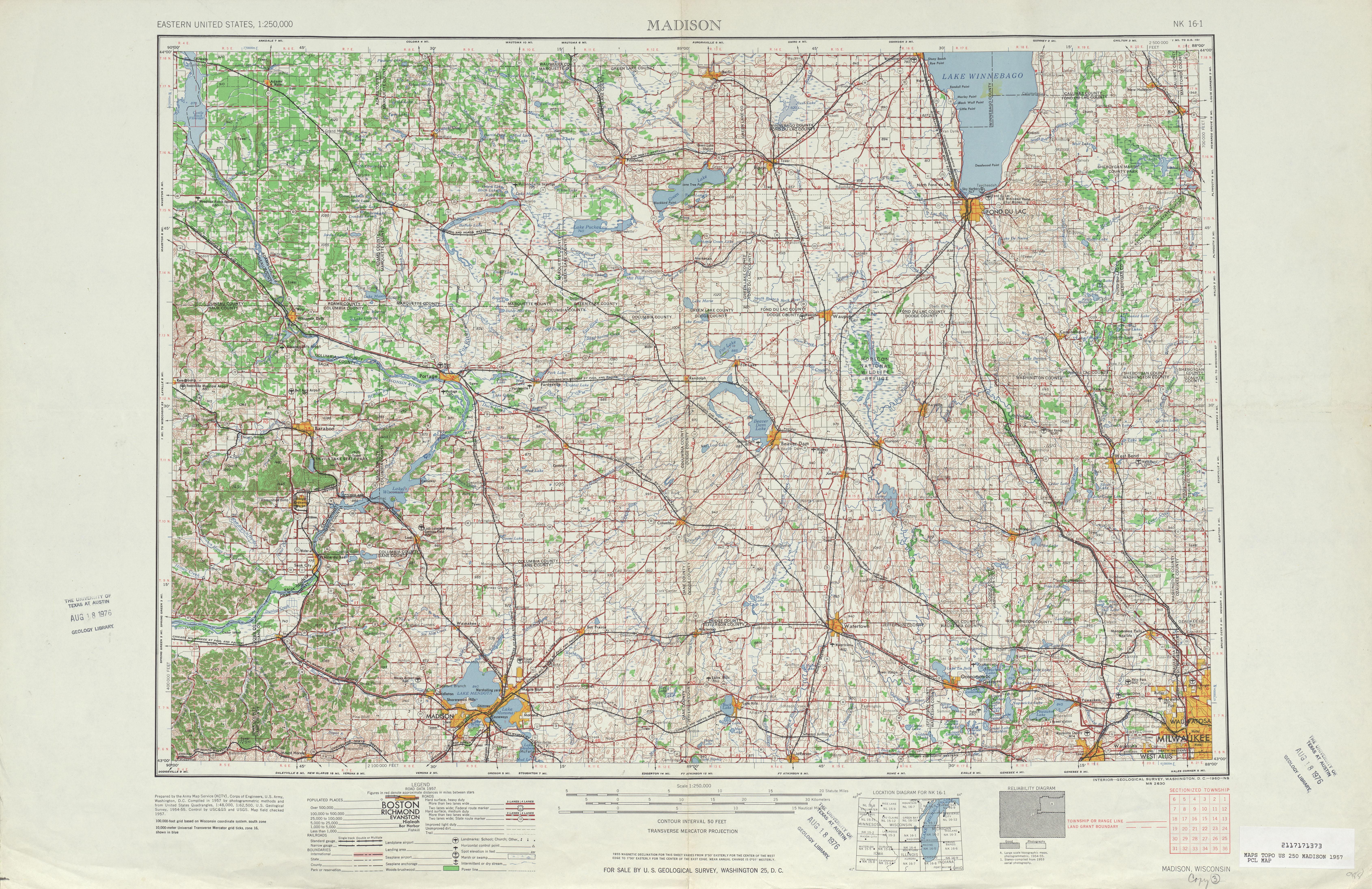 Hoja Madison del Mapa Topográfico de los Estados Unidos 1957