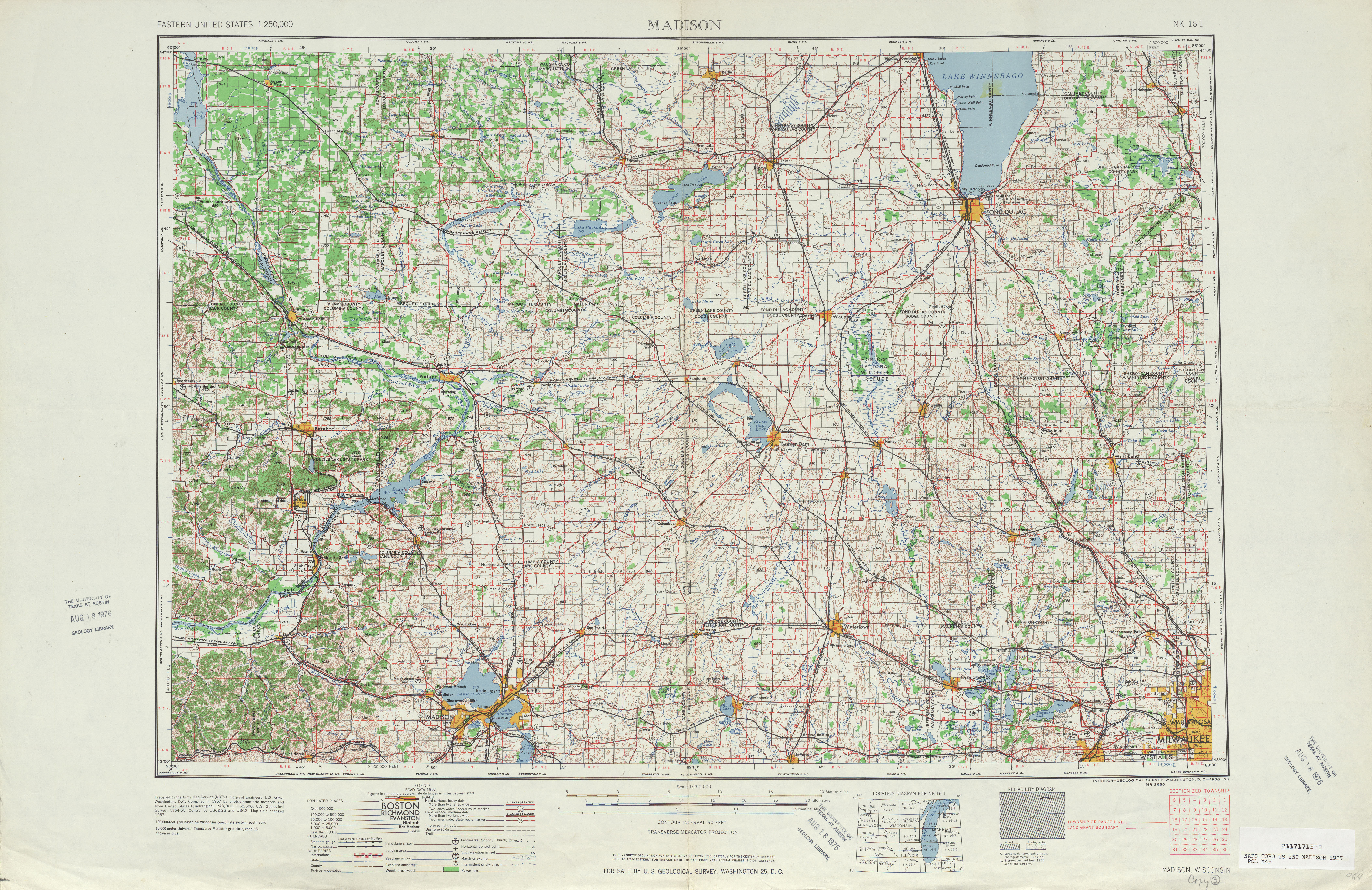 Madison Topographic Map Sheet, United States 1957
