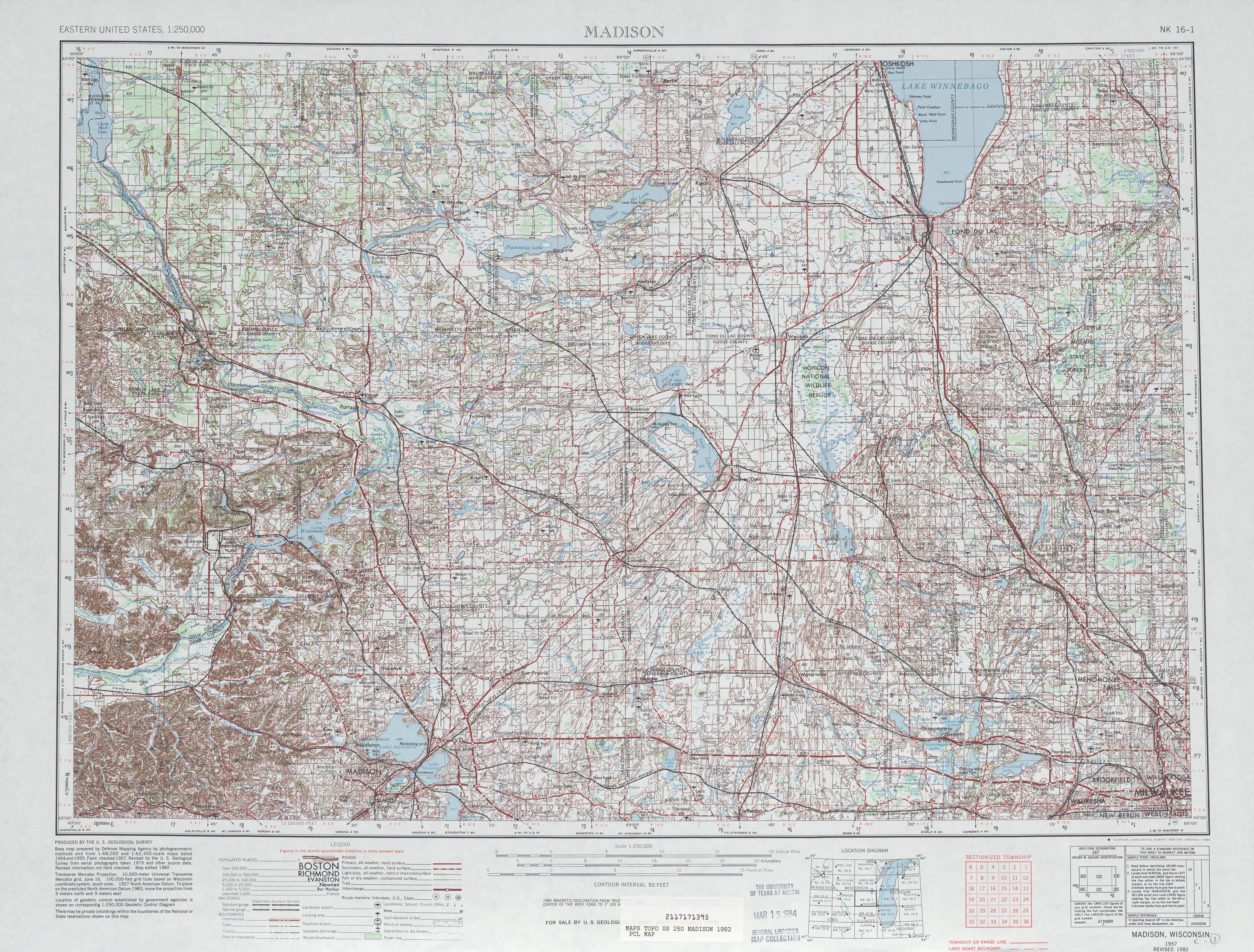 Hoja Madison del Mapa Topográfico de los Estados Unidos 1982