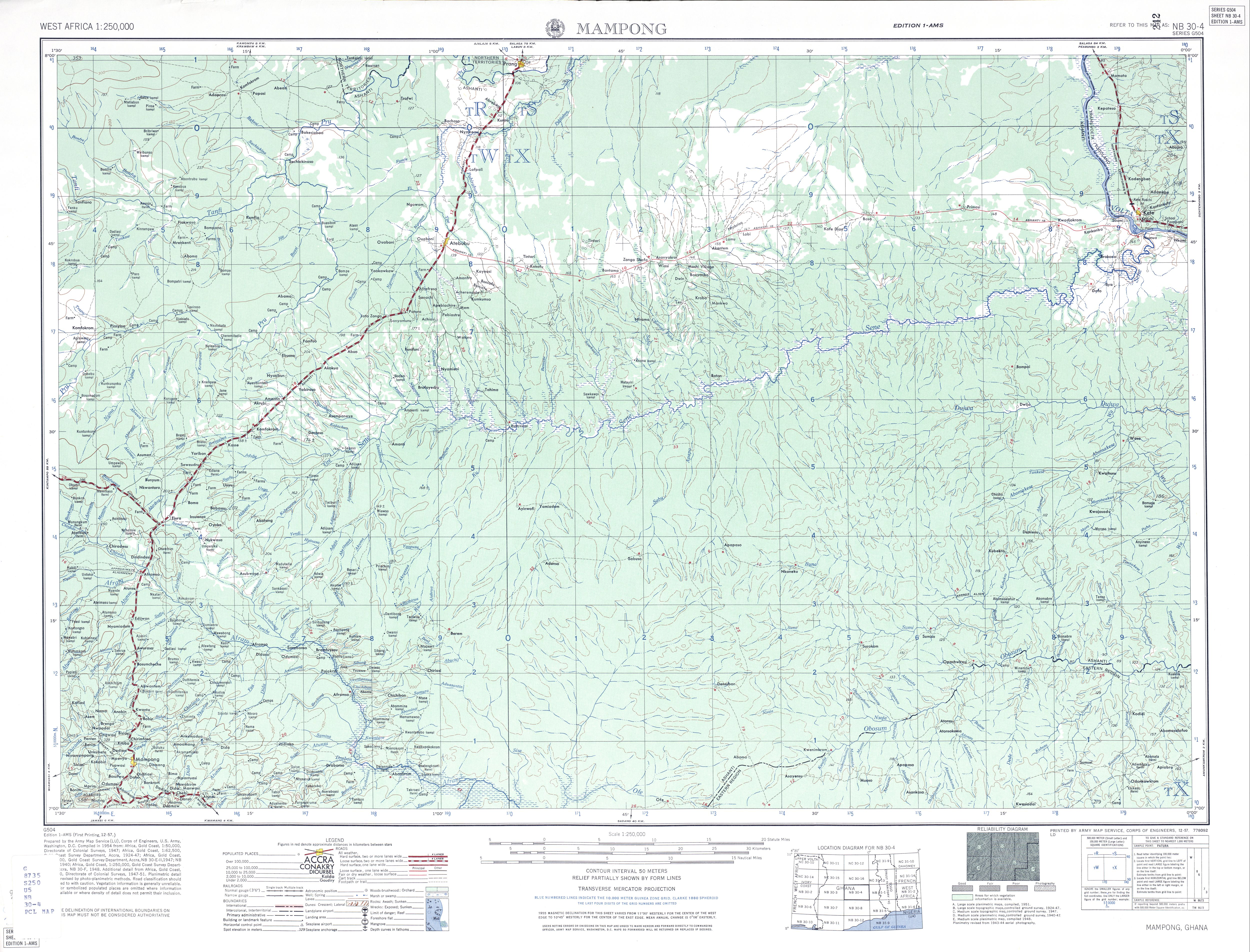 Hoja Mampong del Mapa Topográfico de África Occidental 1955