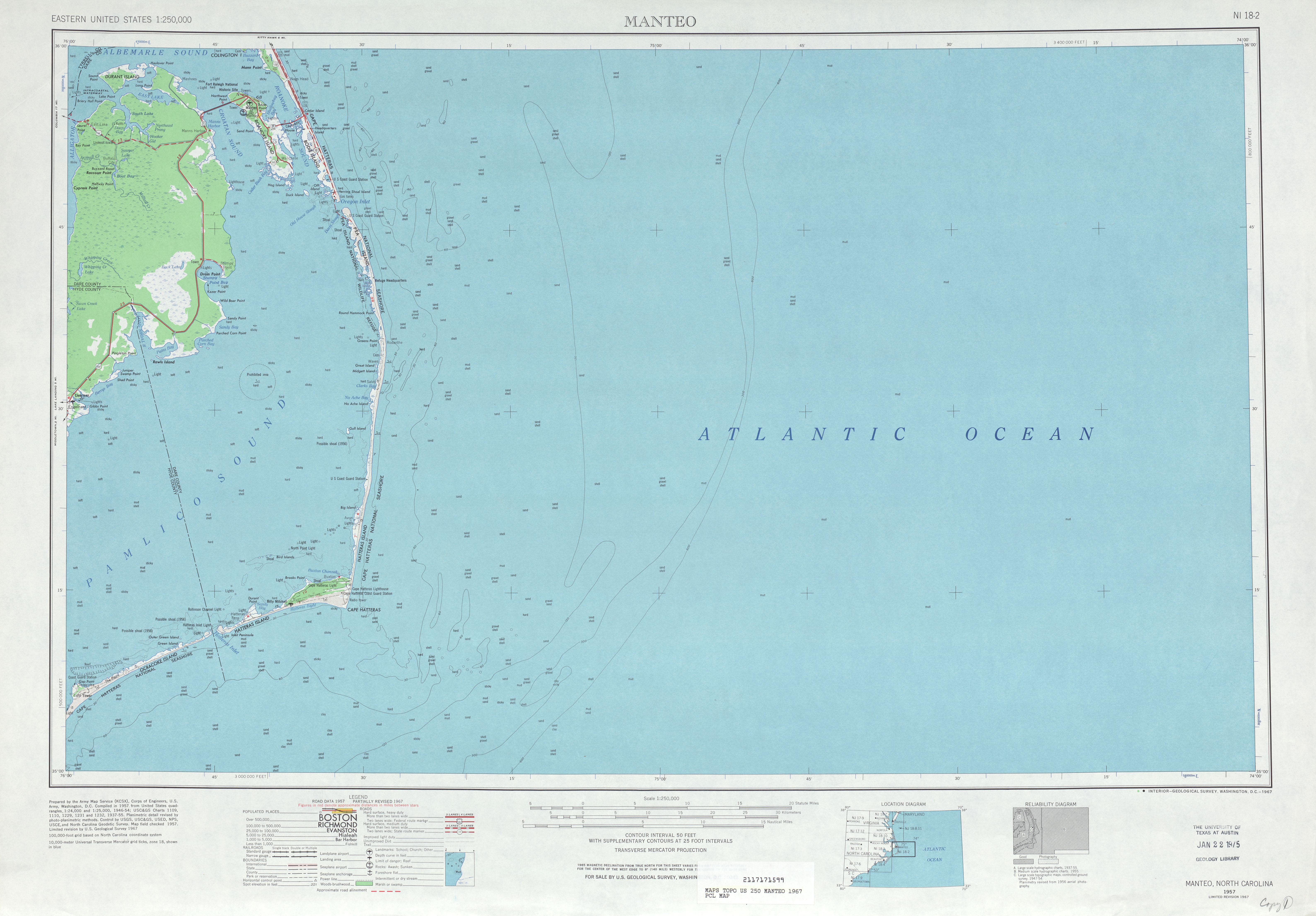 Hoja Manteo del Mapa Topográfico de los Estados Unidos 1967