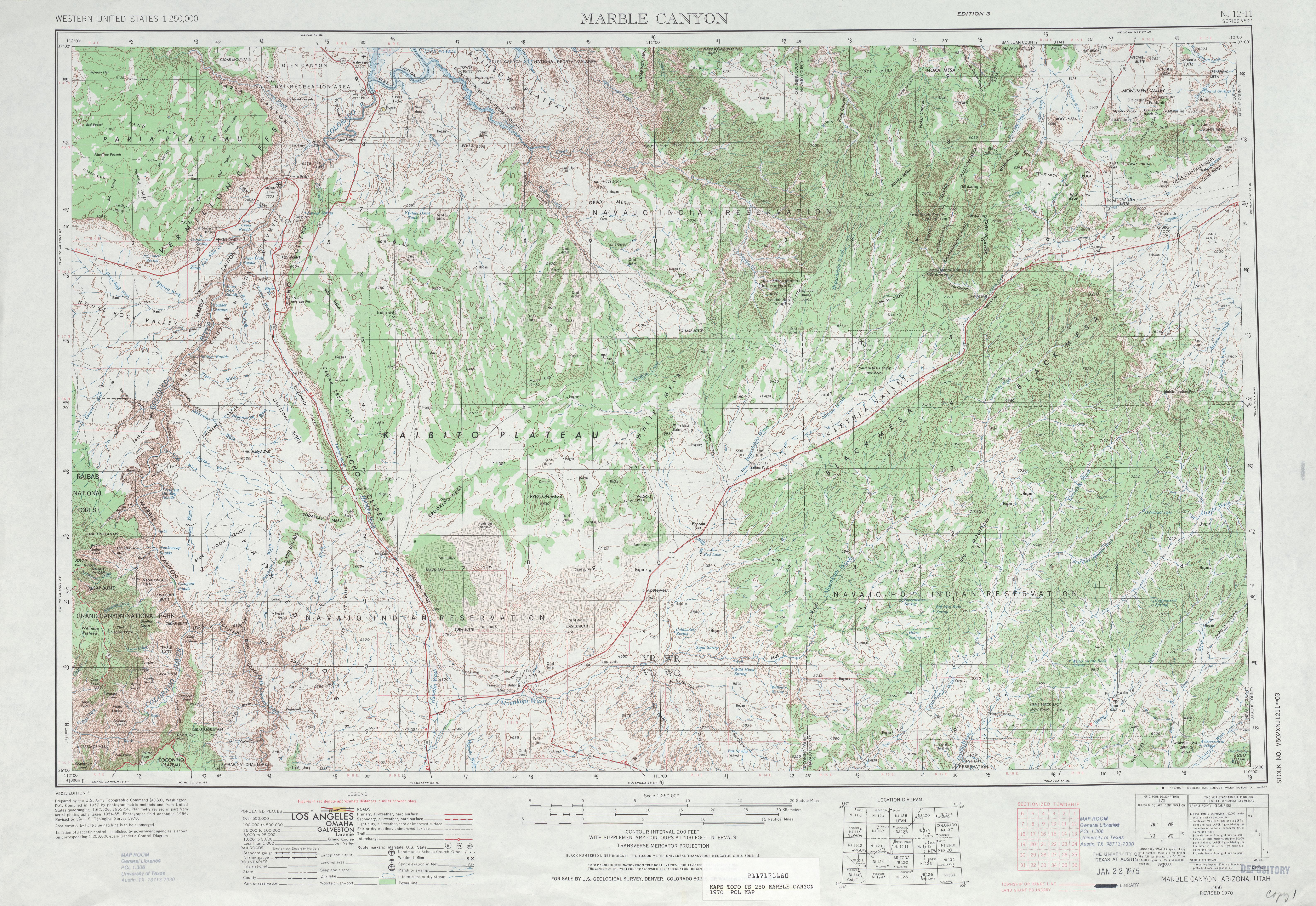 Hoja Marble Canyon del Mapa Topográfico de los Estados Unidos 1970