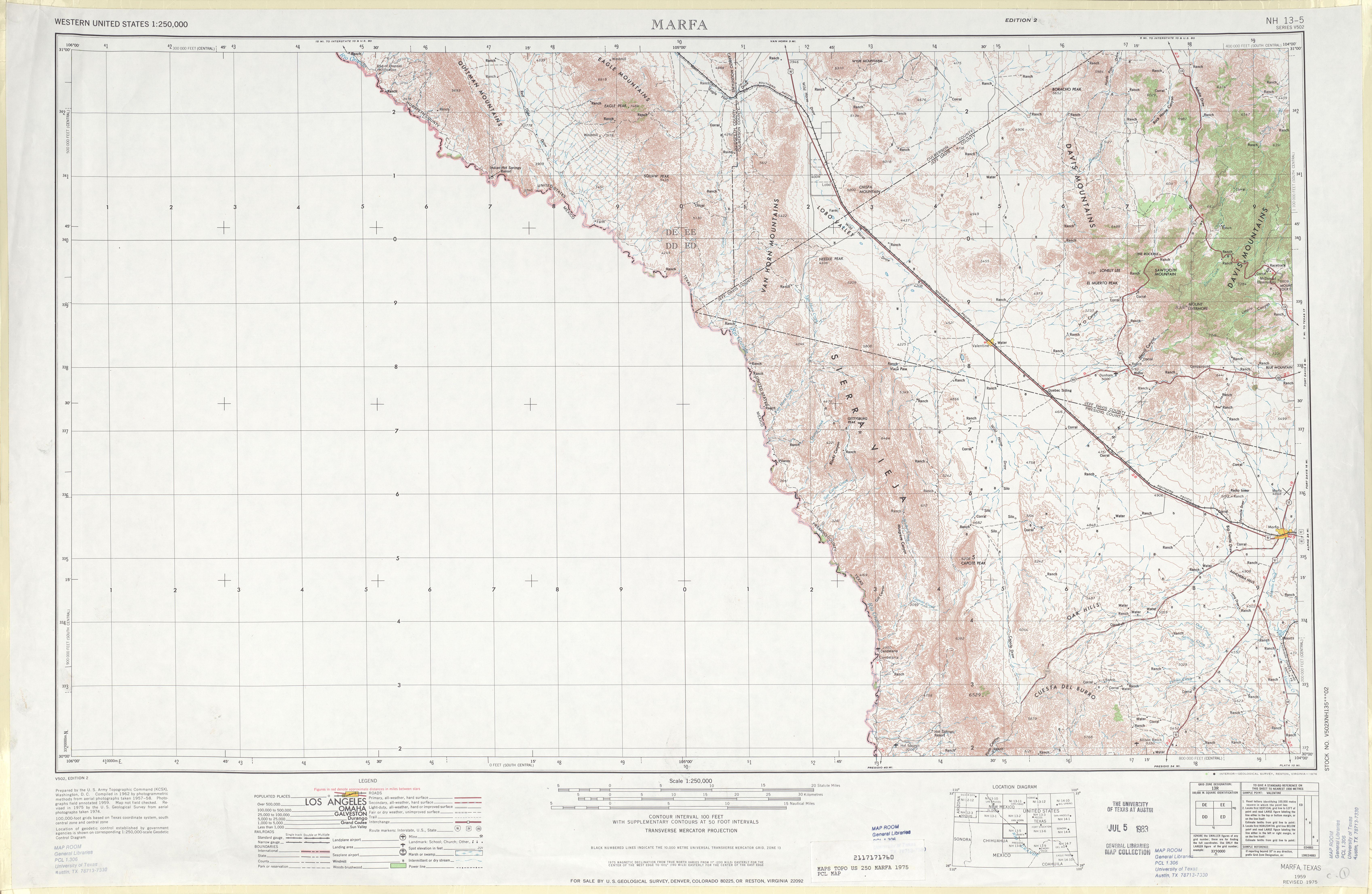 Hoja Marfa del Mapa Topográfico de los Estados Unidos 1975