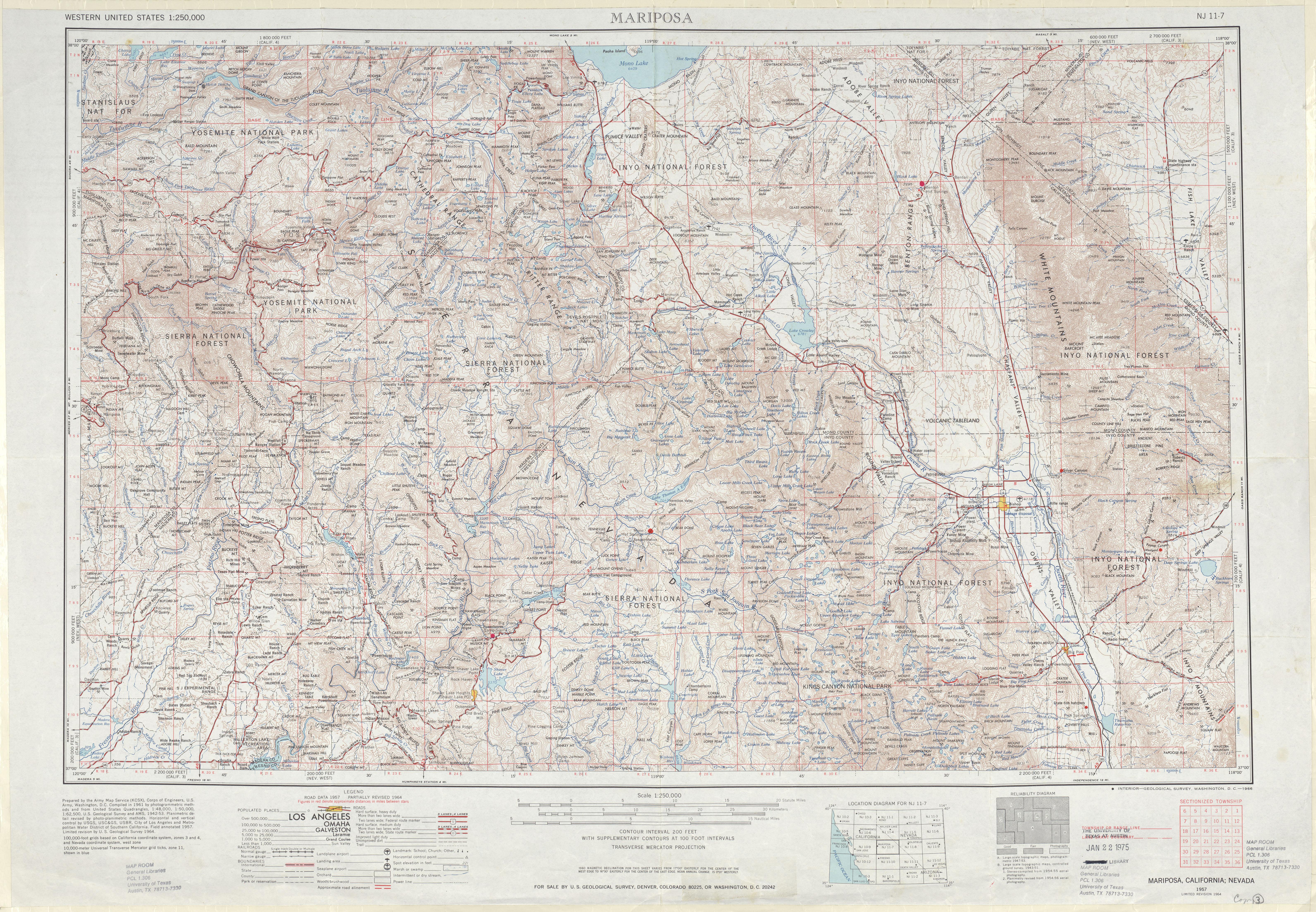Hoja Mariposa del Mapa de Relieve Sombreado de los Estados Unidos 1964