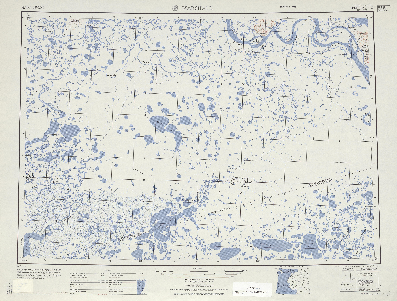 Hoja Marshall del Mapa de Relieve Sombreado de los Estados Unidos 1951