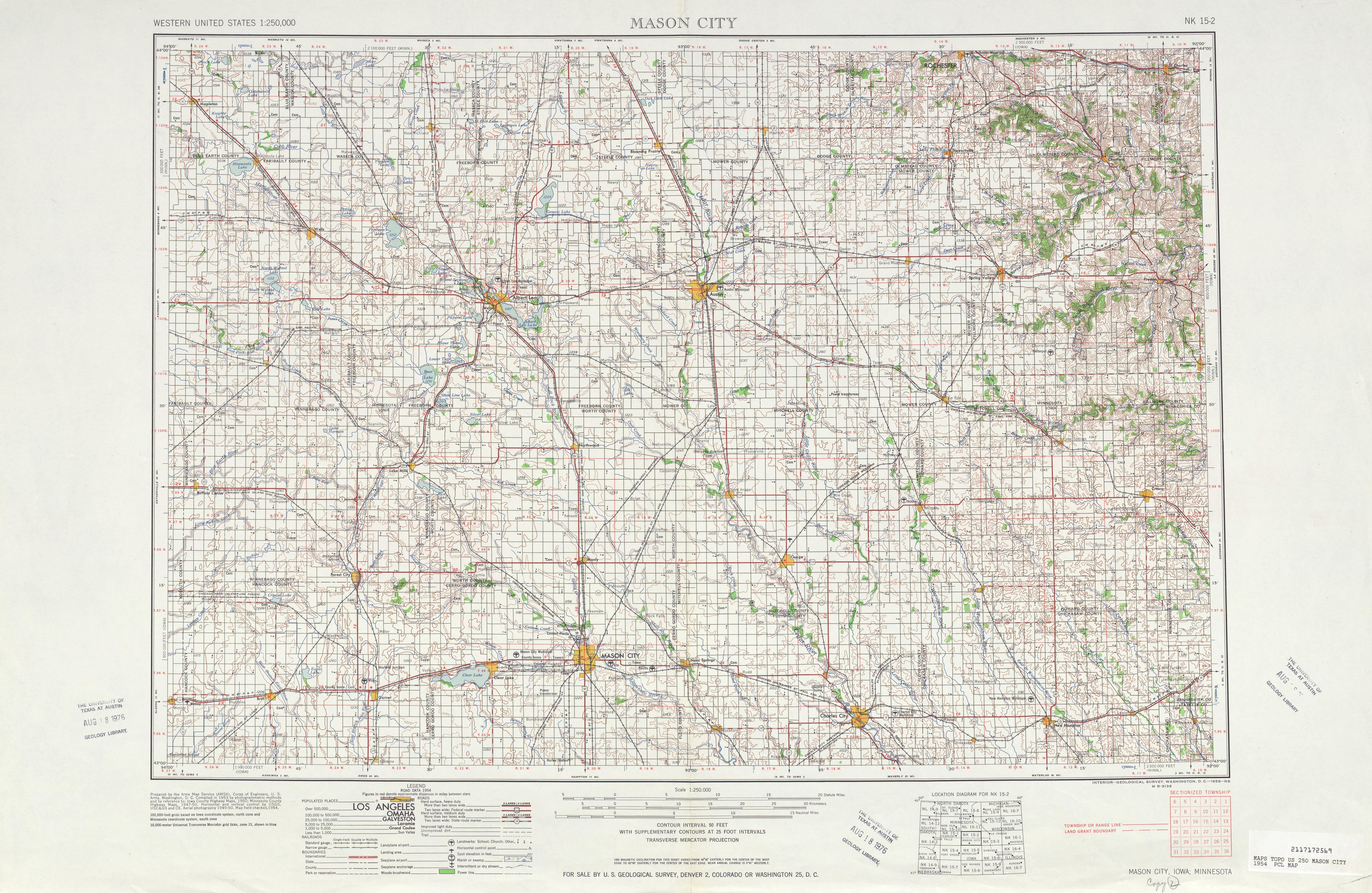 Mason City Topographic Map Sheet, United States 1954