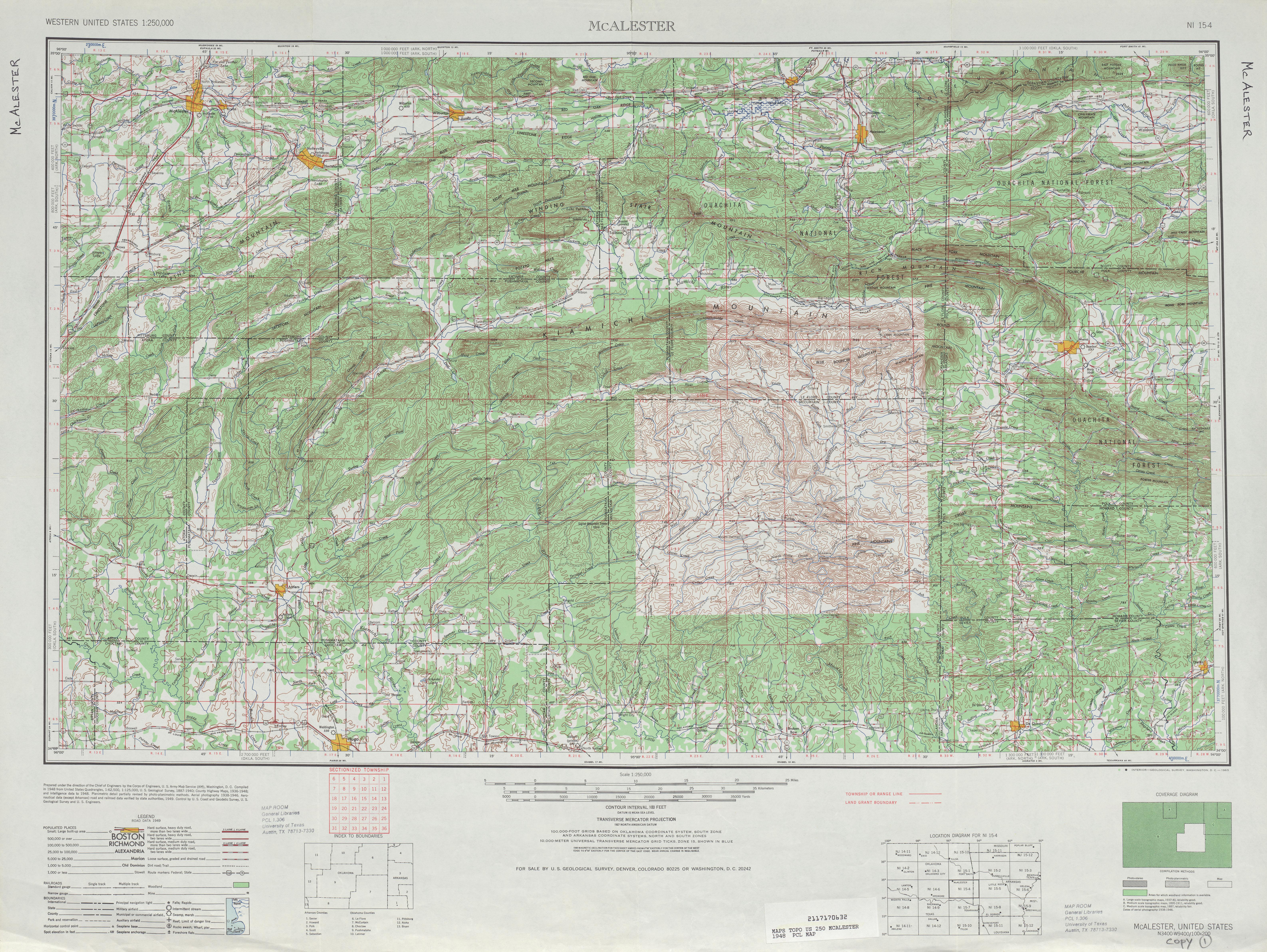 Hoja Mcalester del Mapa Topográfico de los Estados Unidos 1948