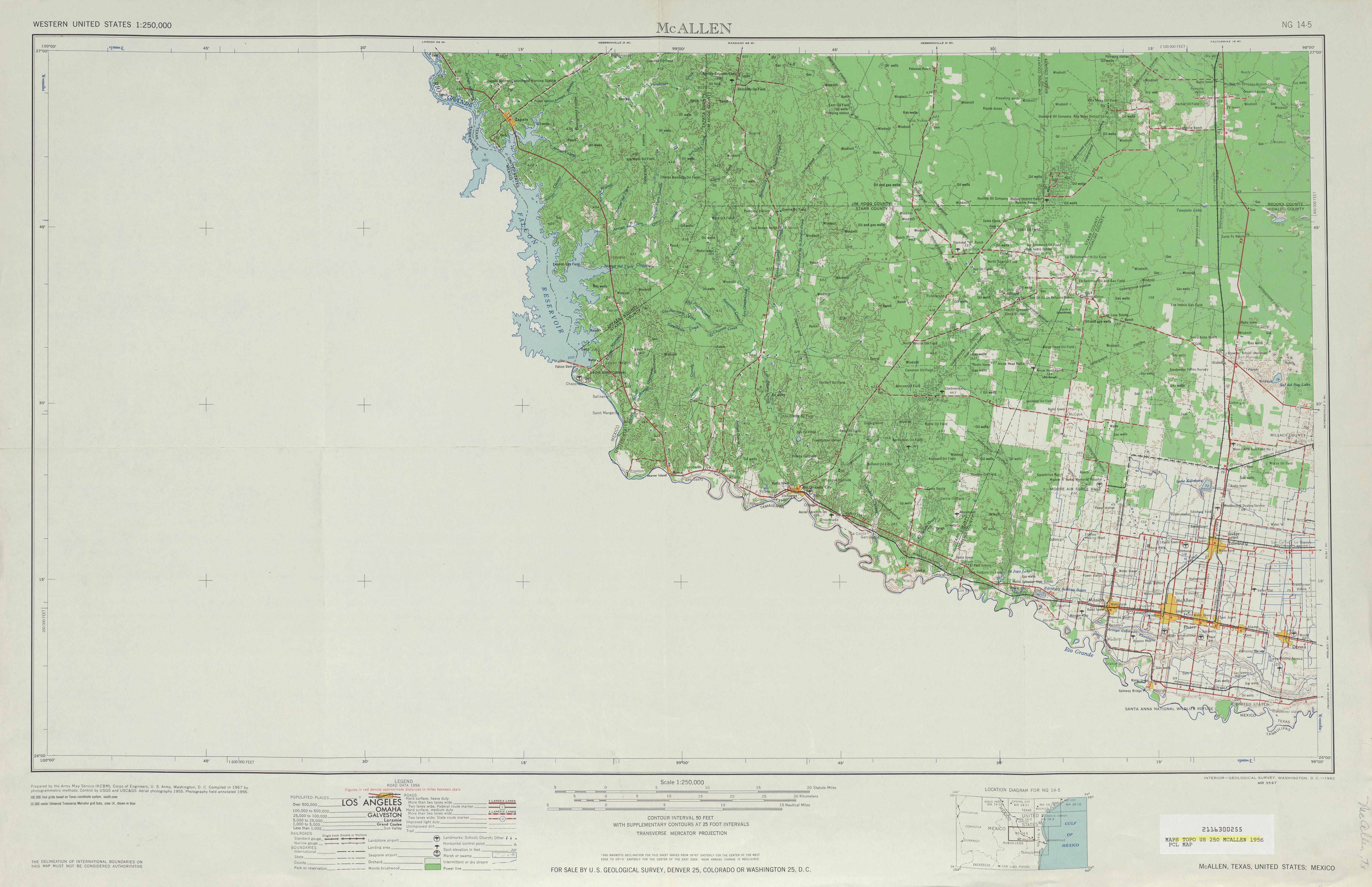 Hoja Mcallen del Mapa Topográfico de los Estados Unidos 1956