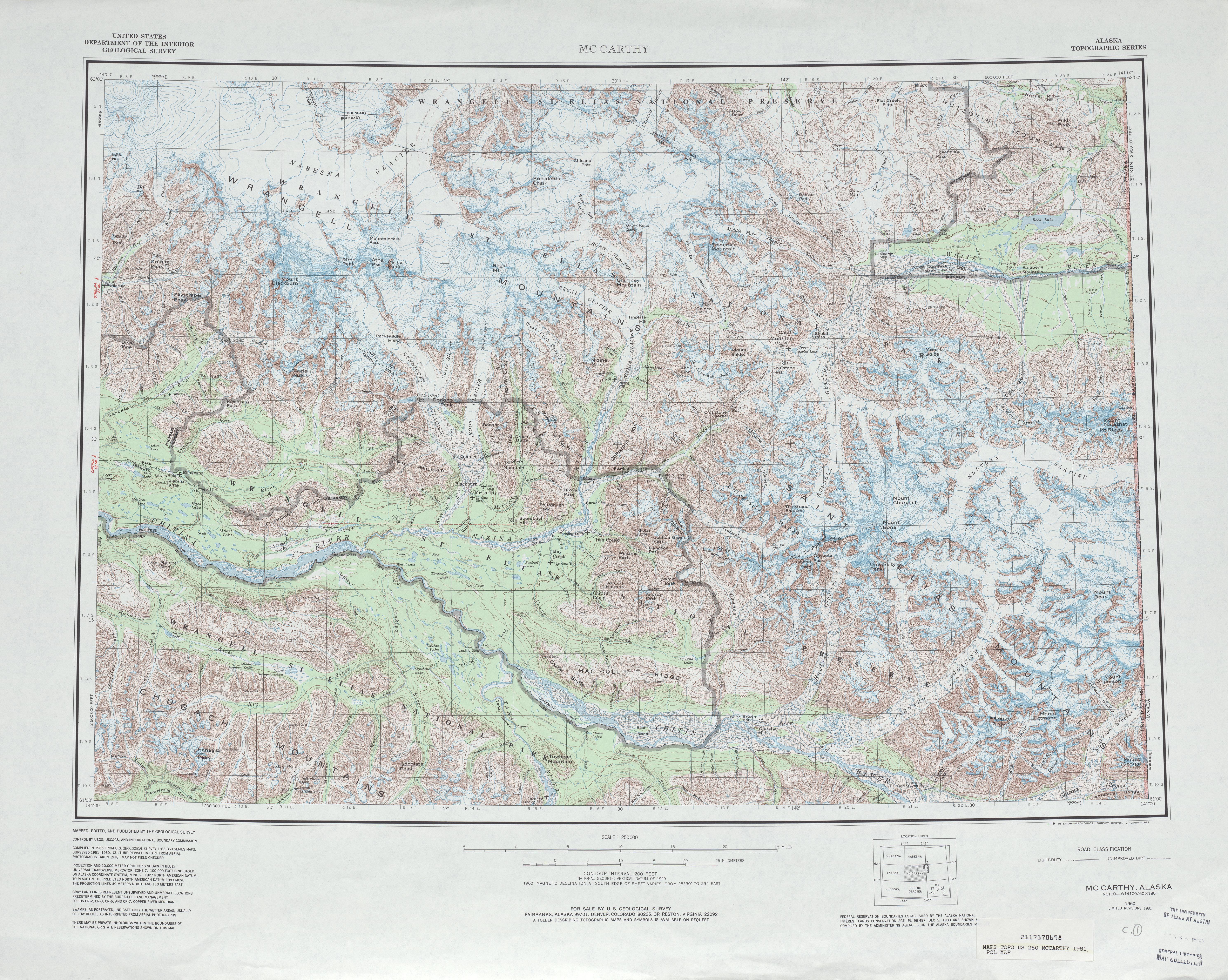 Hoja Mccarthy del Mapa Topográfico de los Estados Unidos 1981