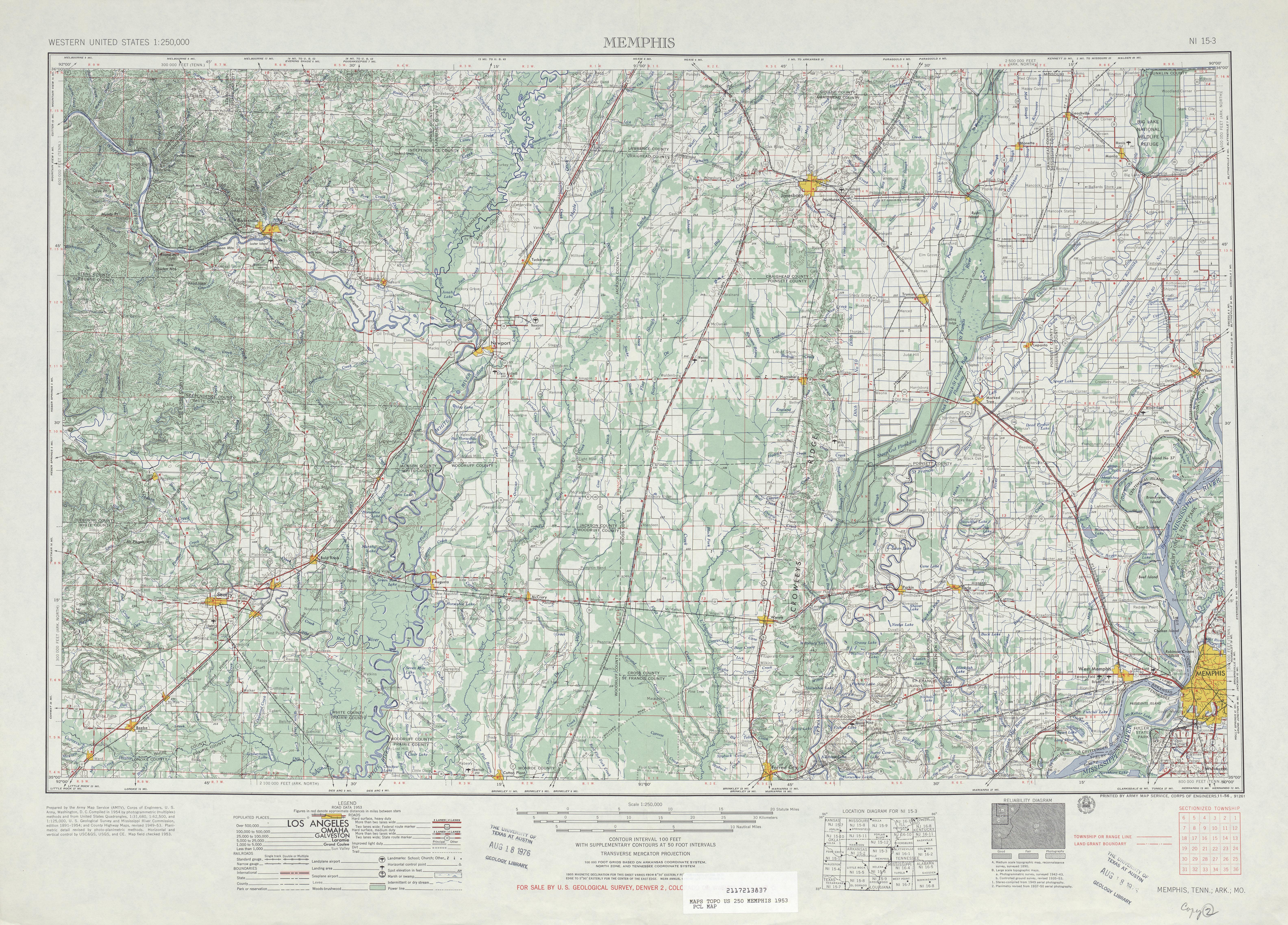 Hoja Memphis del Mapa Topográfico de los Estados Unidos 1953
