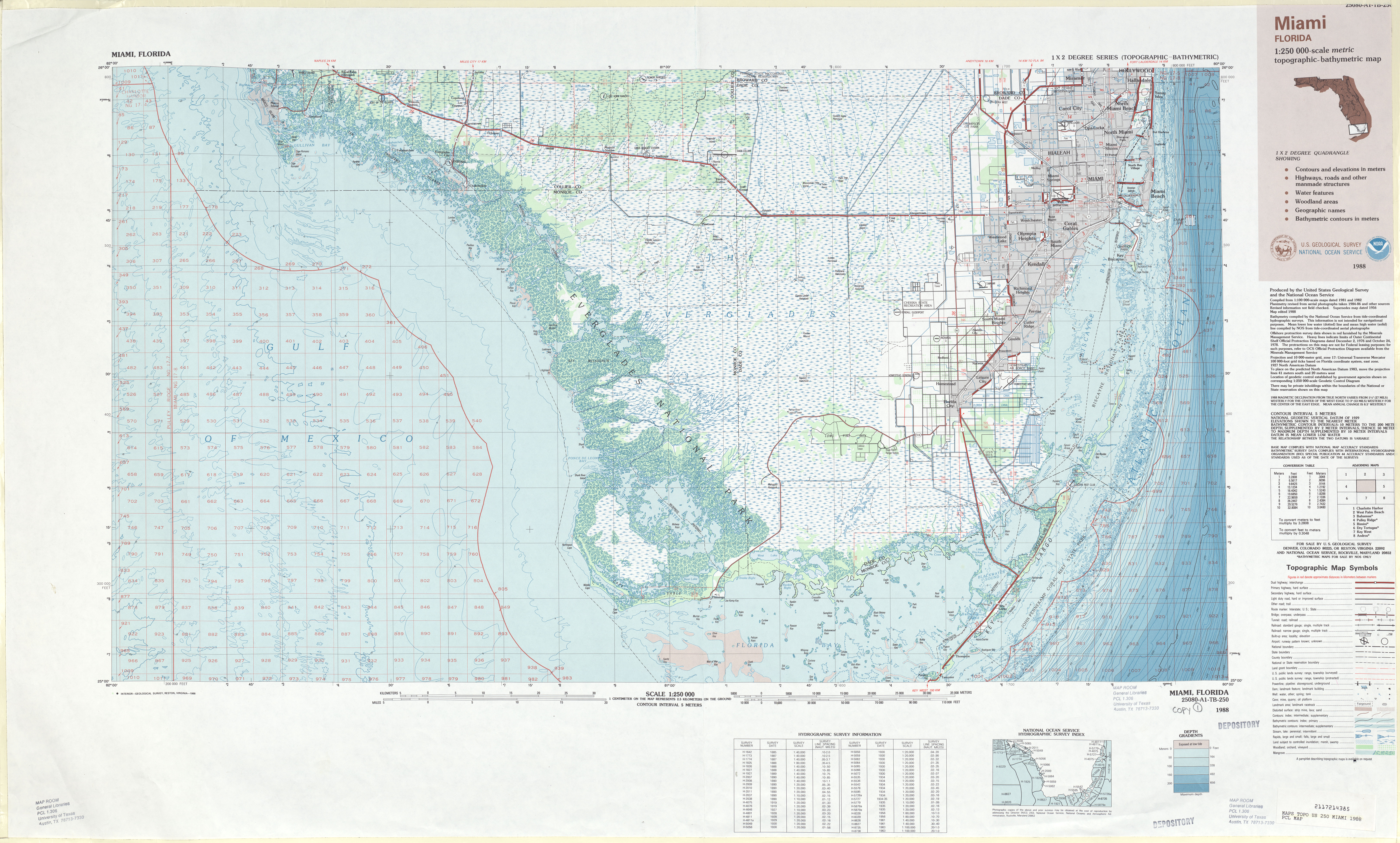 Hoja Miami Mapa Topográfico de-Batimétrico, Estados Unidos 1988