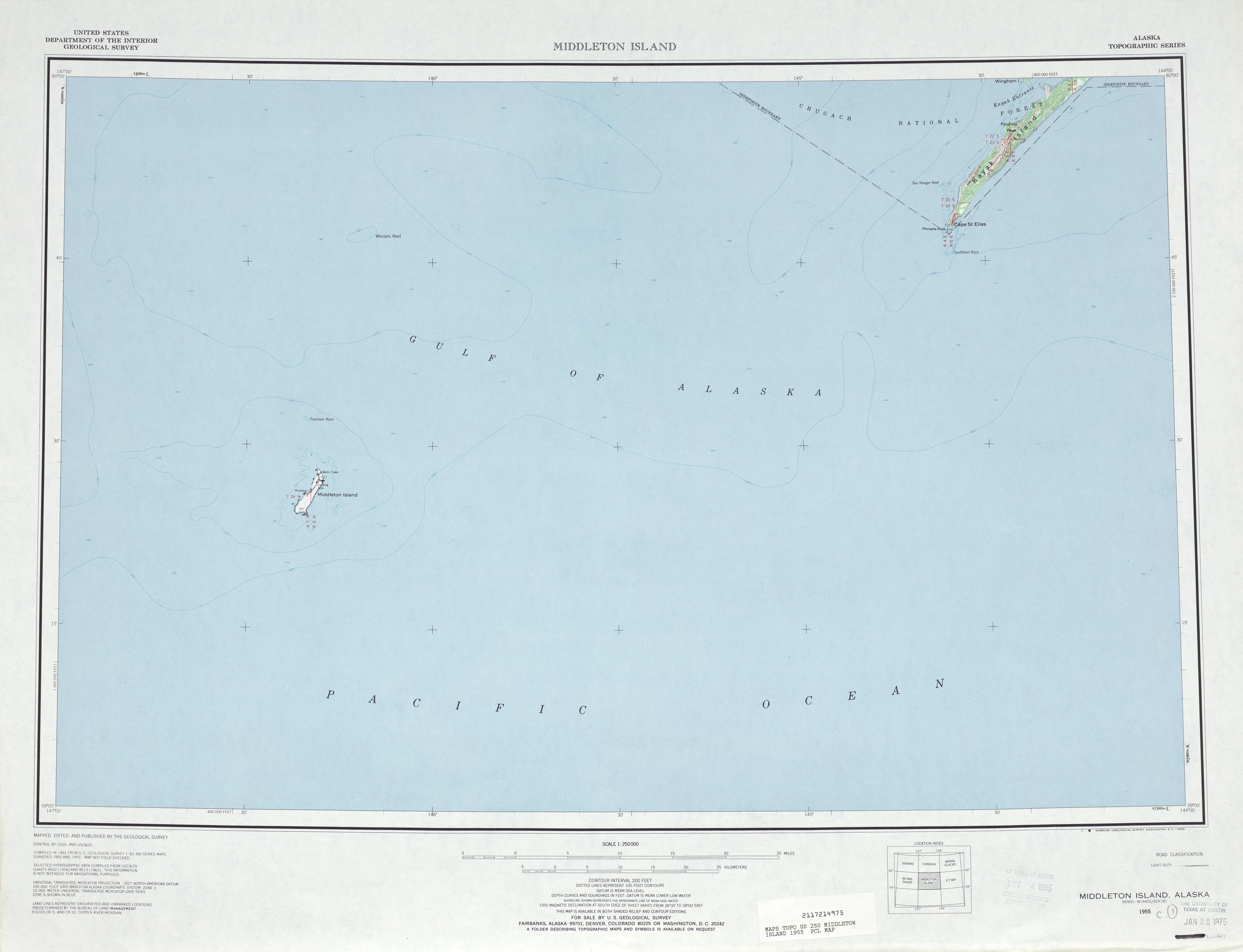Hoja Middleton Island del Mapa Topográfico de los Estados Unidos 1955