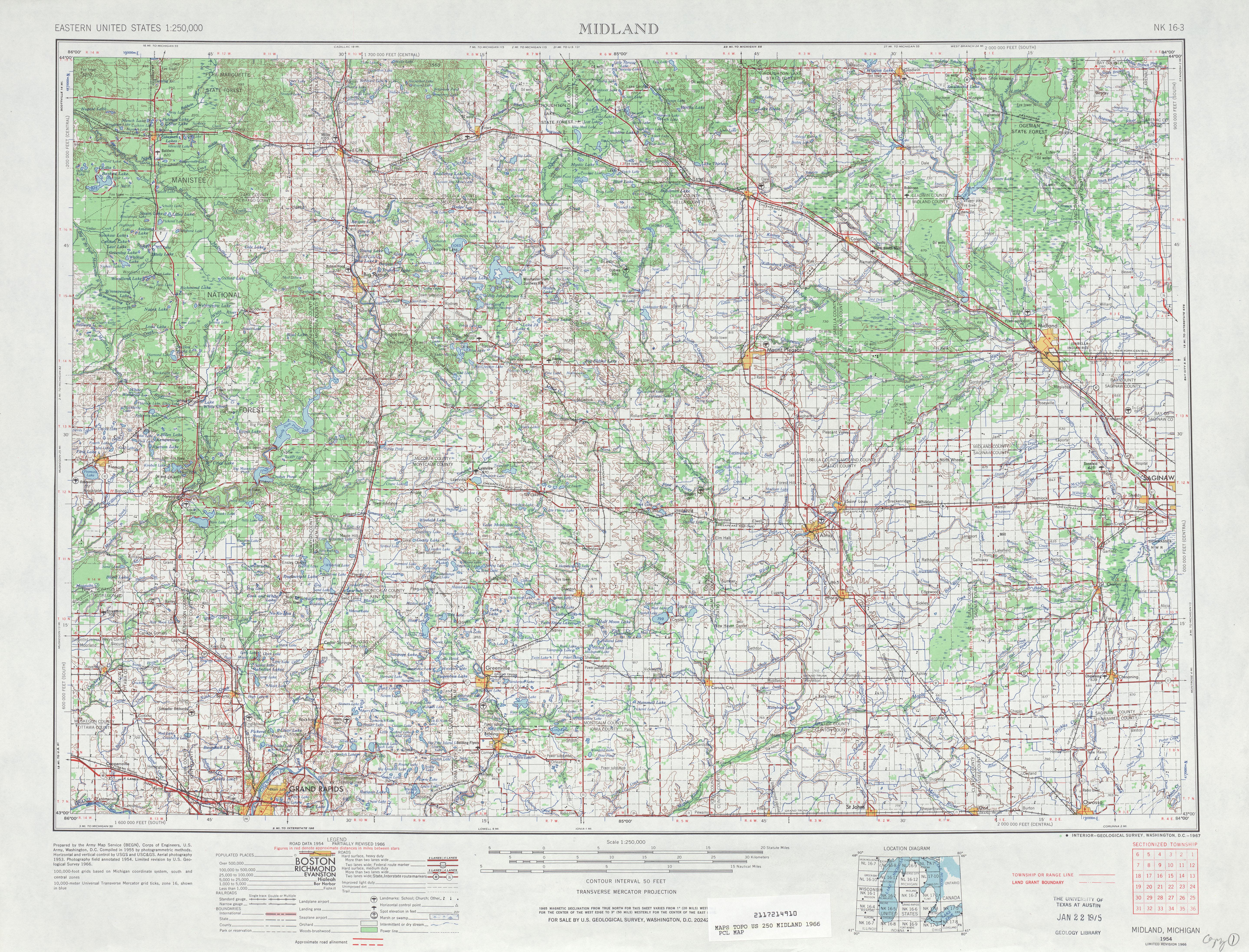 Hoja Midland del Mapa Topográfico de los Estados Unidos 1966