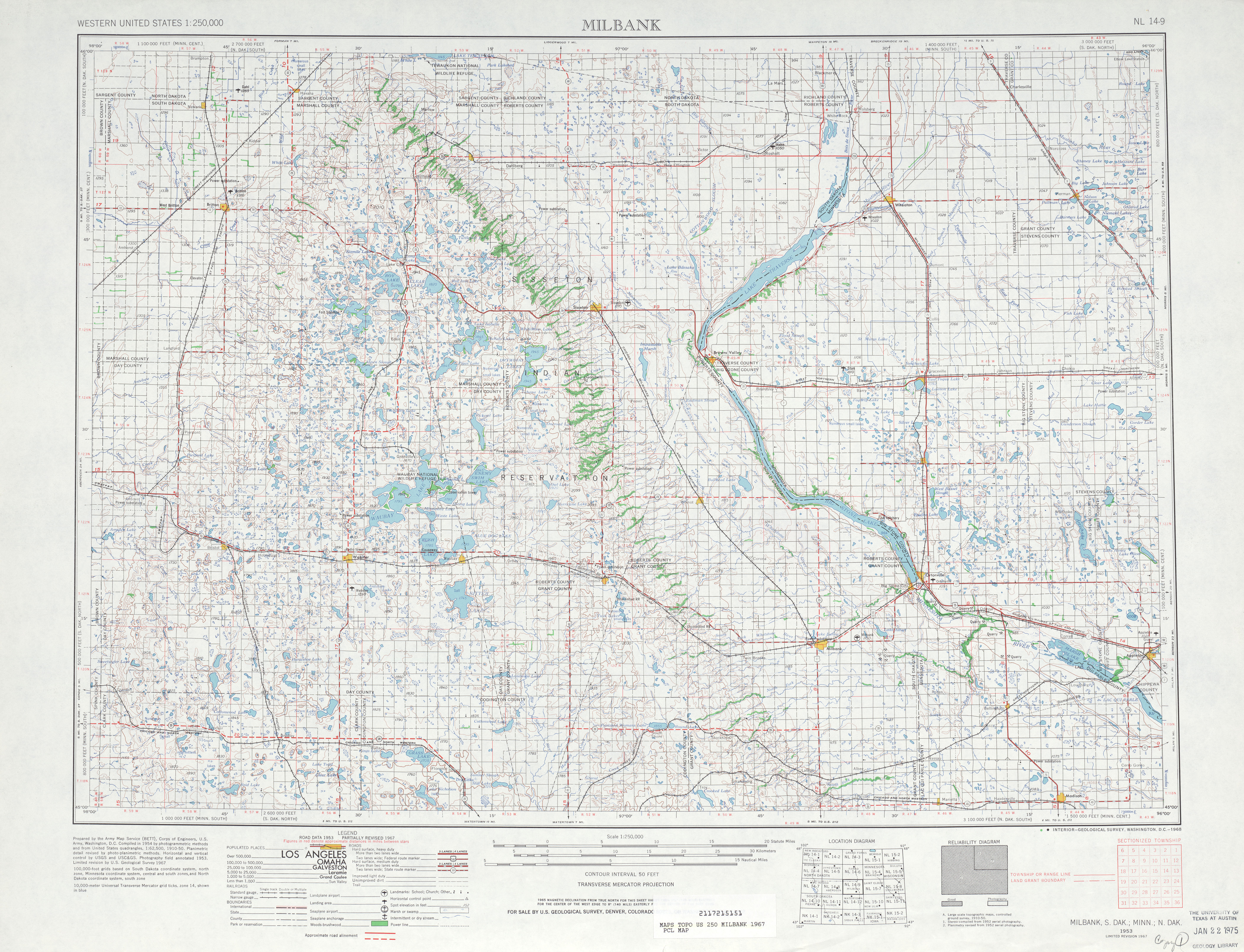 Hoja Milbank del Mapa Topográfico de los Estados Unidos 1967