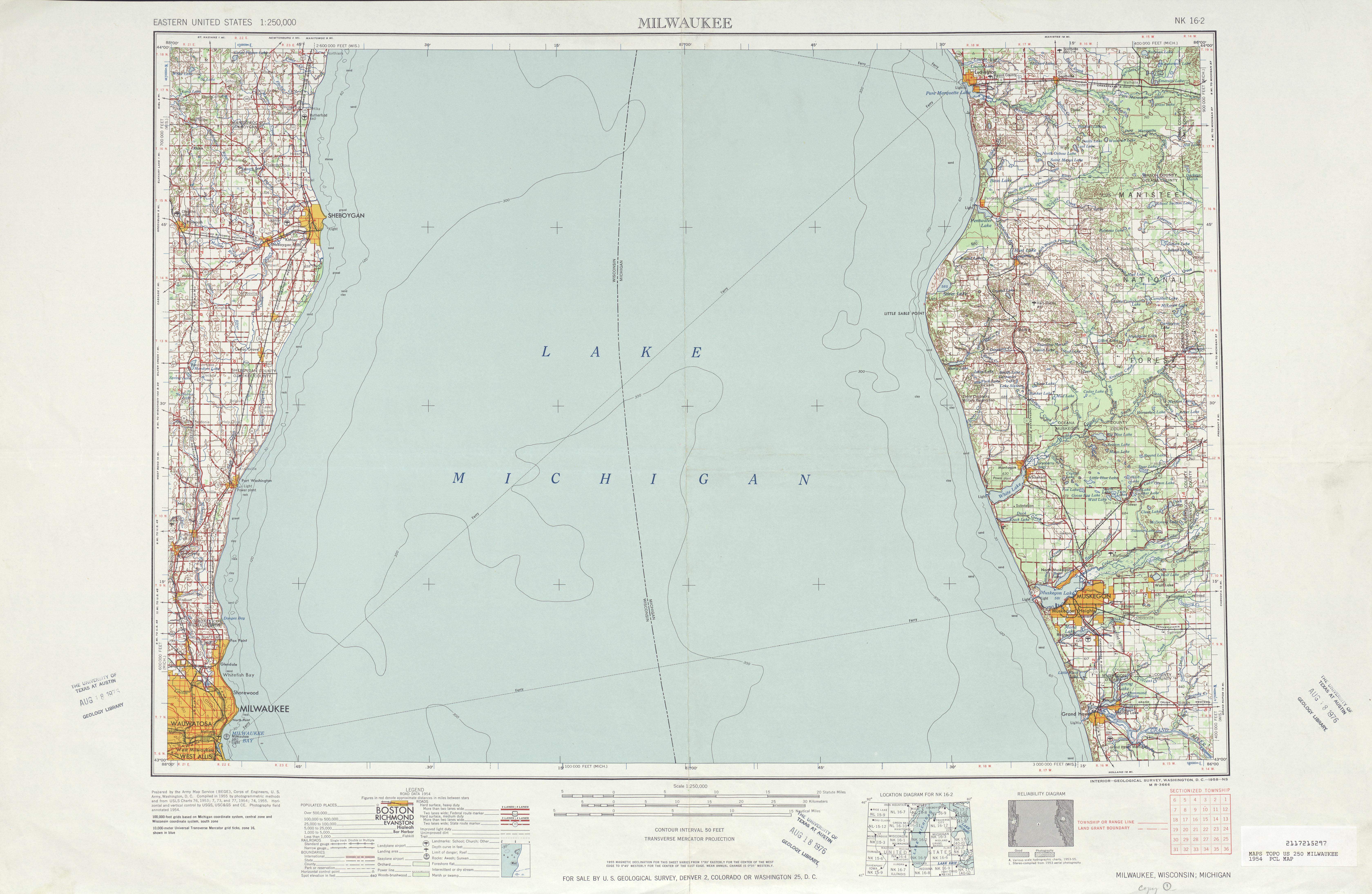 Hoja Milwaukee del Mapa Topográfico de los Estados Unidos 1954