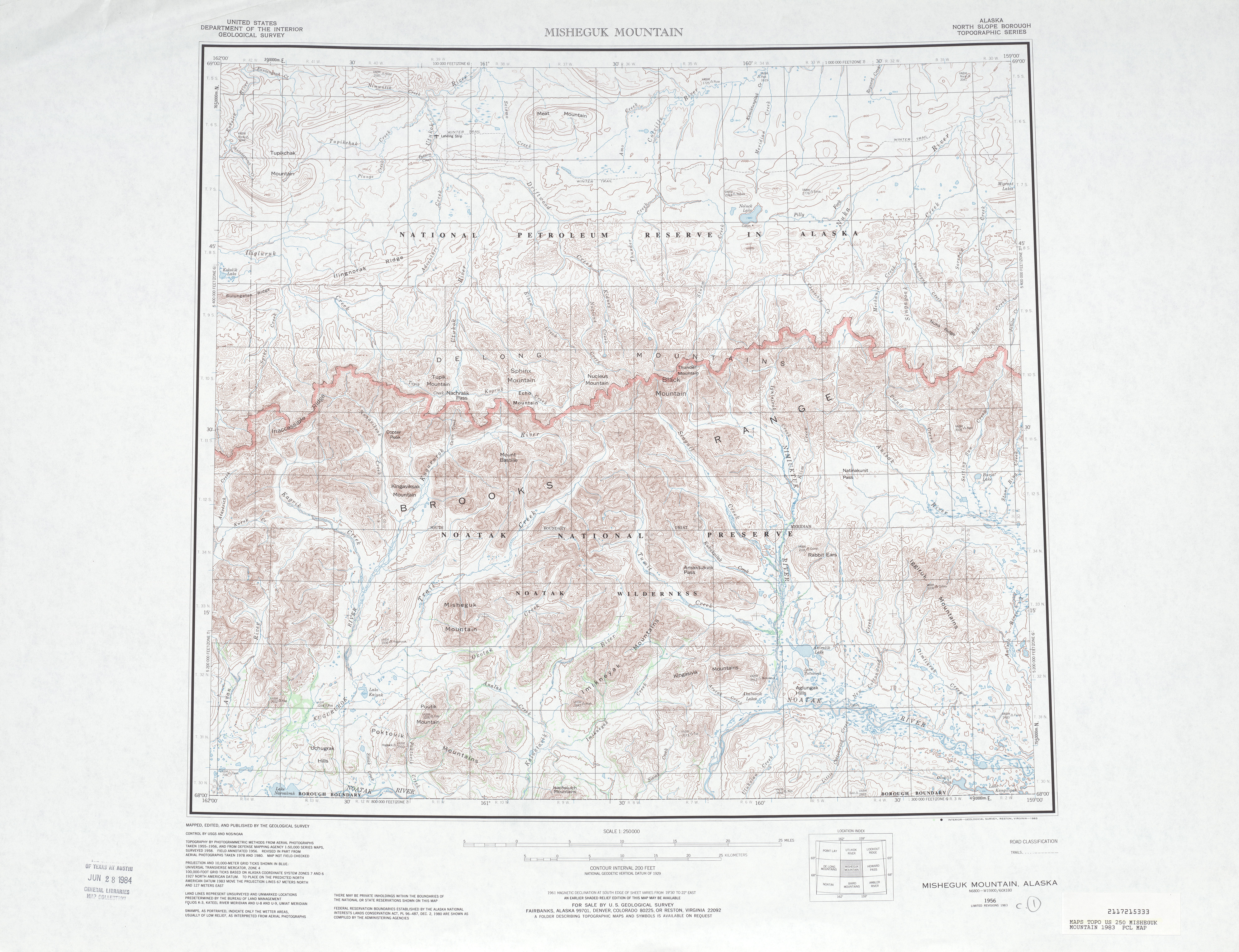 Hoja Misheguk Mountain del Mapa Topográfico de los Estados Unidos 1983