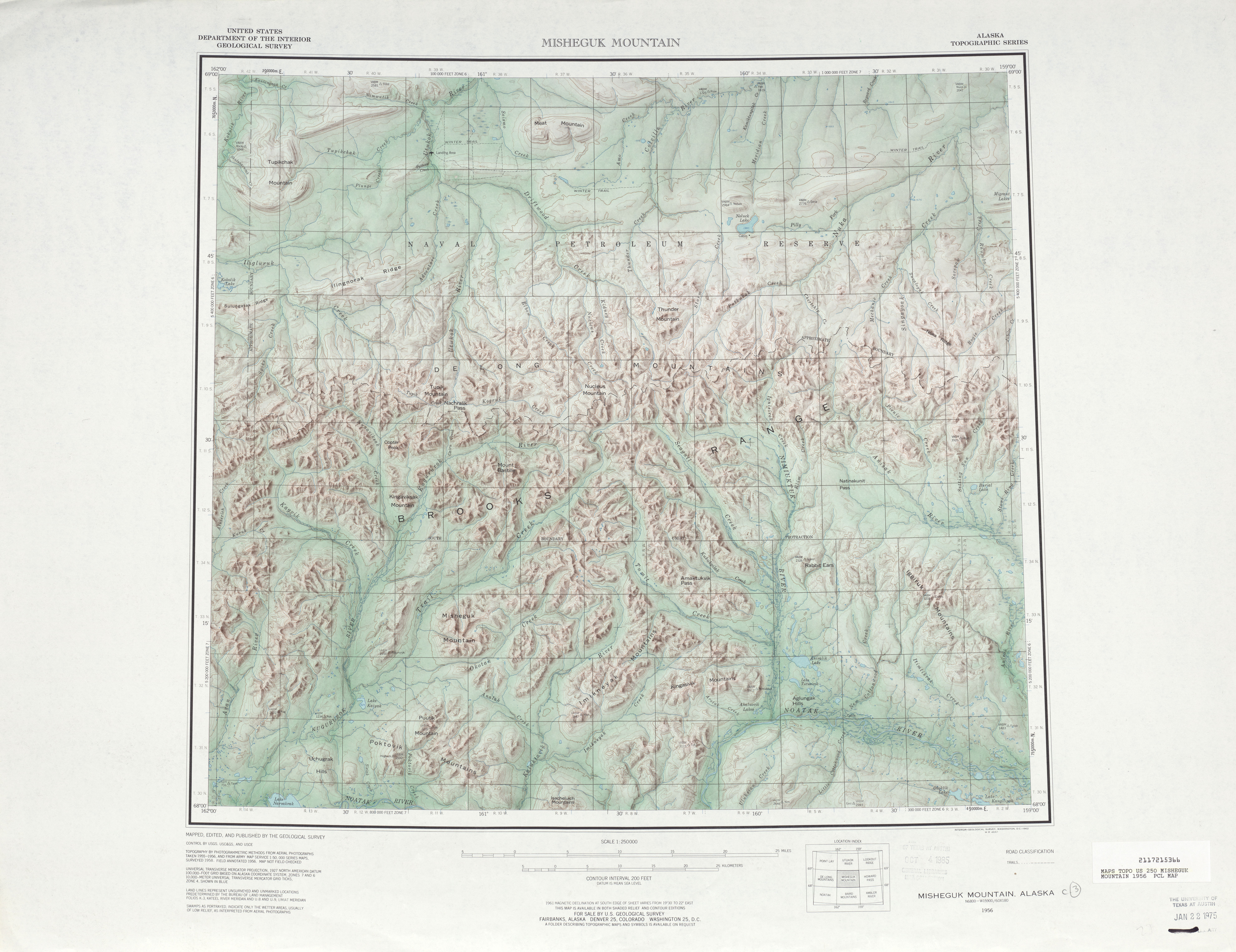 Misheguk Mountain Shaded Relief Map Sheet, United States 1956