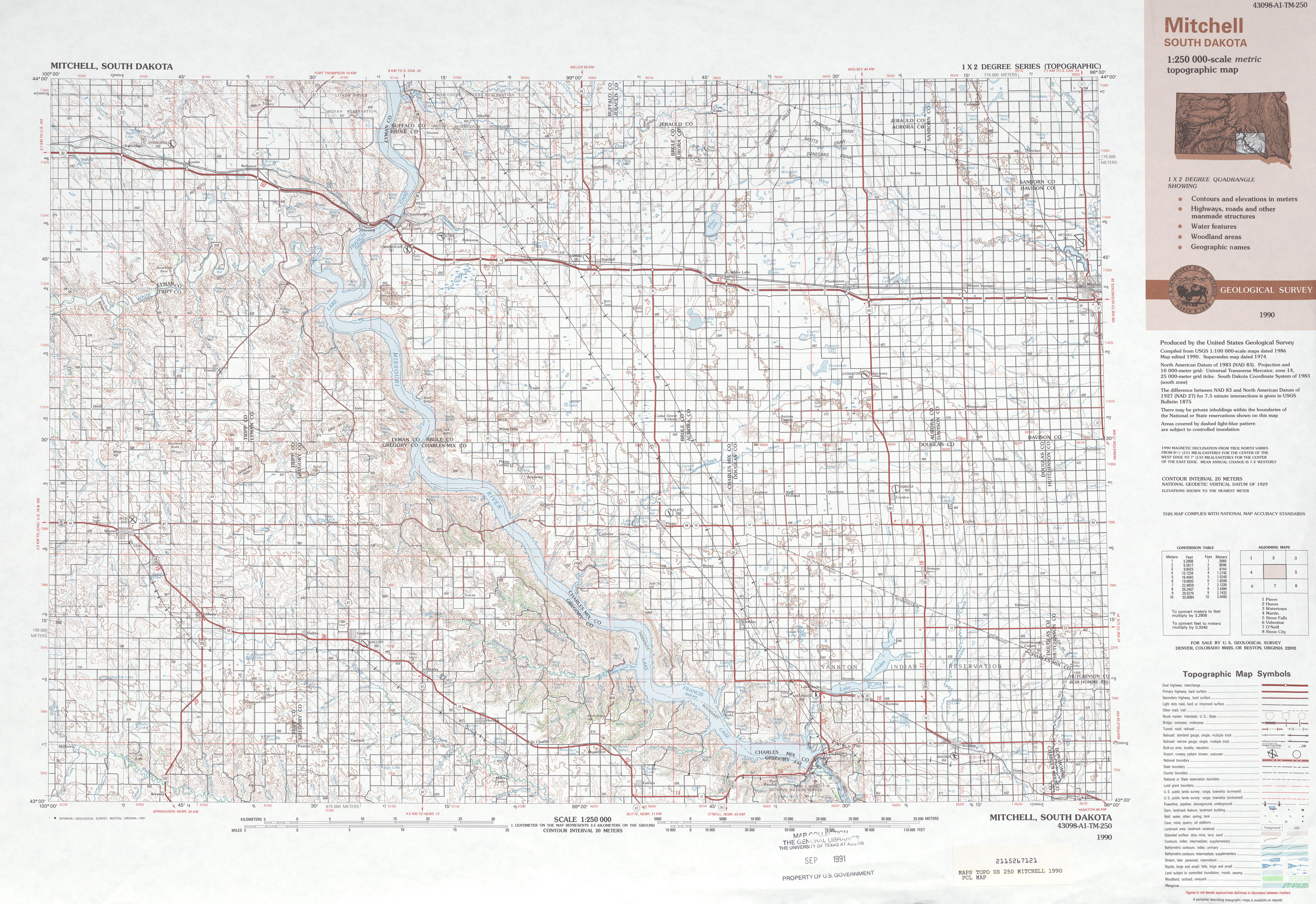 Hoja Mitchell del Mapa Topográfico de los Estados Unidos 1990