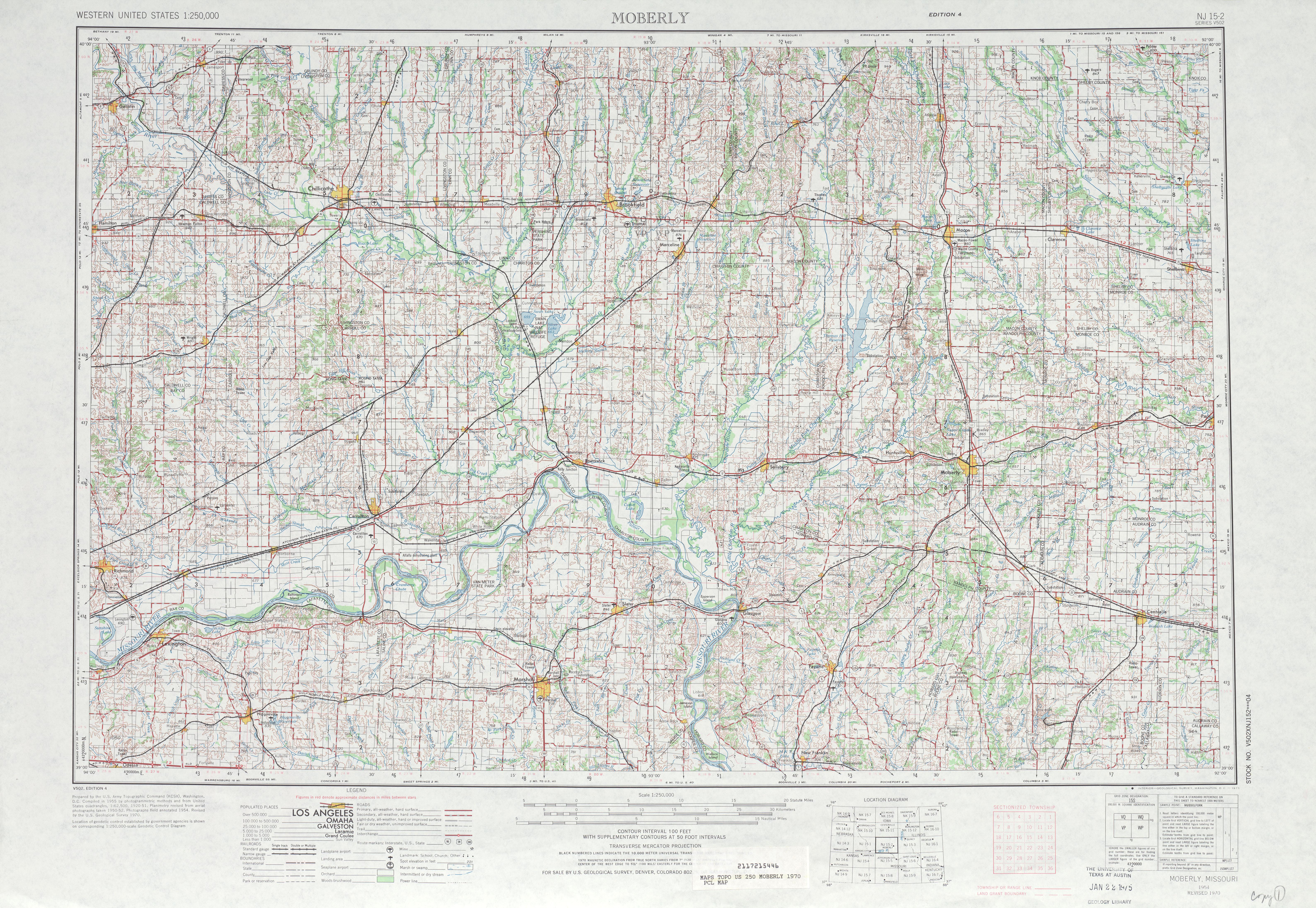 Hoja Moberly del Mapa Topográfico de los Estados Unidos 1970