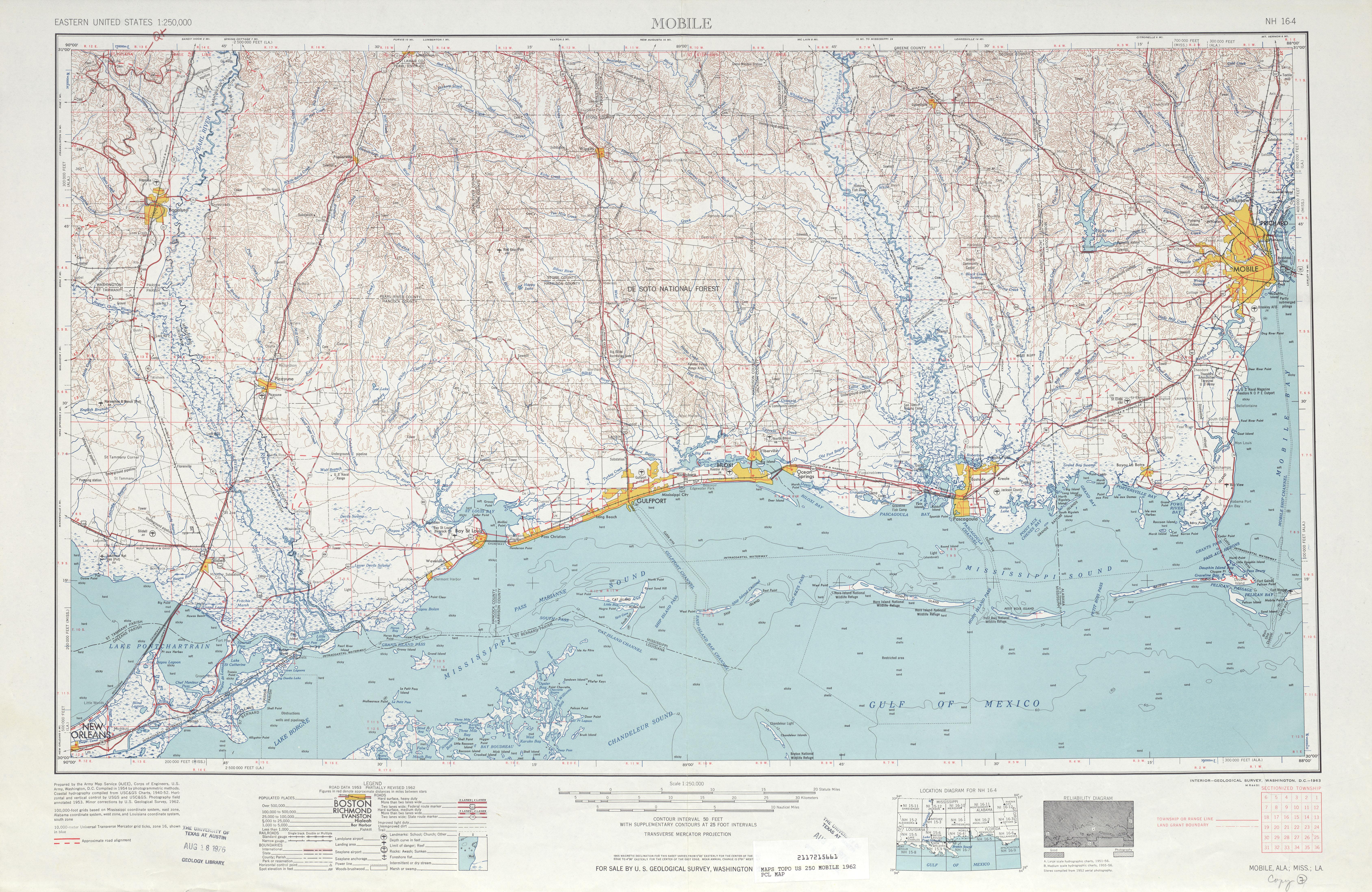 Hoja Mobile del Mapa Topográfico de los Estados Unidos 1962