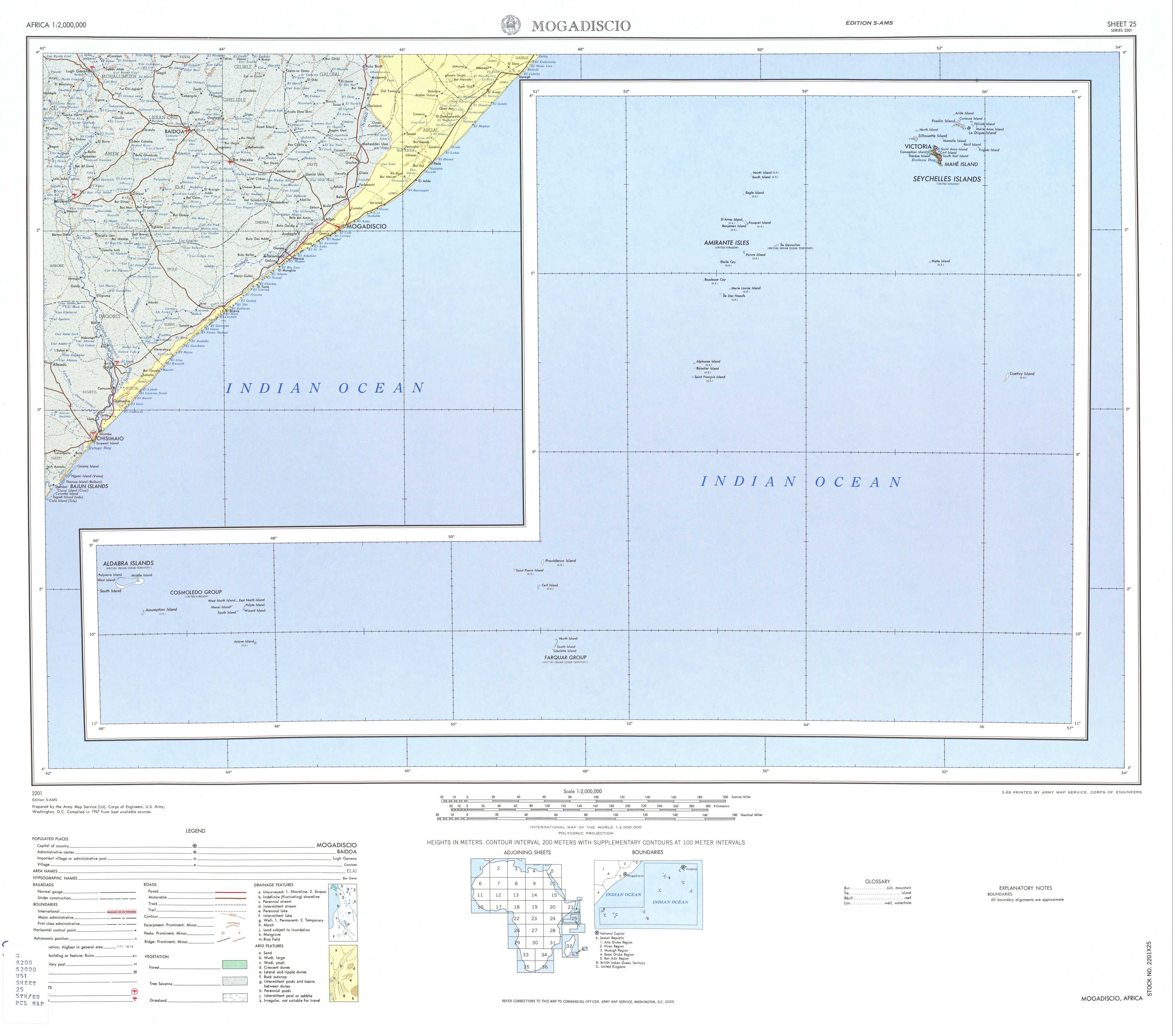 Hoja Mogadiscio (Mogadiscio) del Mapa Topográfico de África 1967