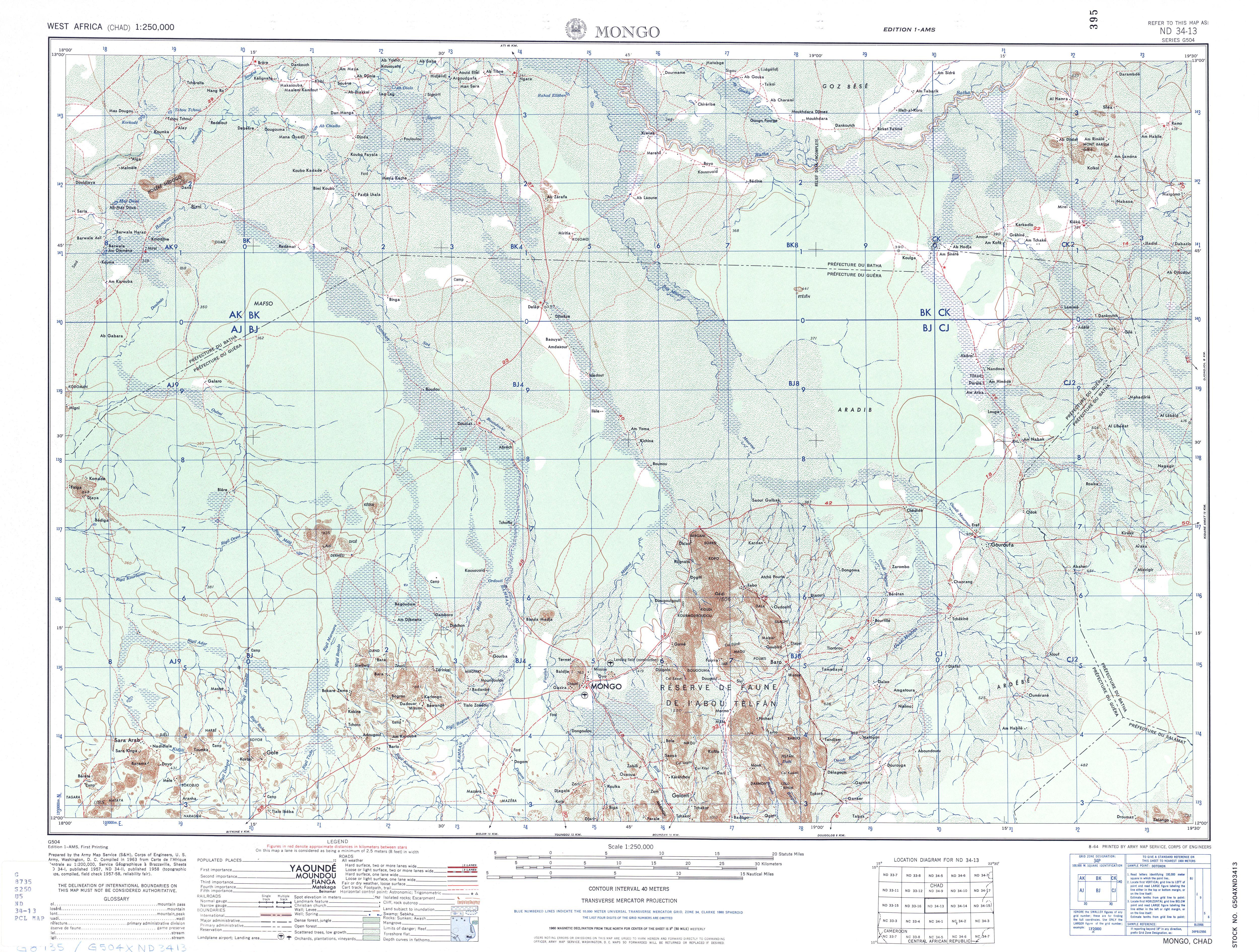 Hoja Mongo del Mapa Topográfico de África Occidental 1955