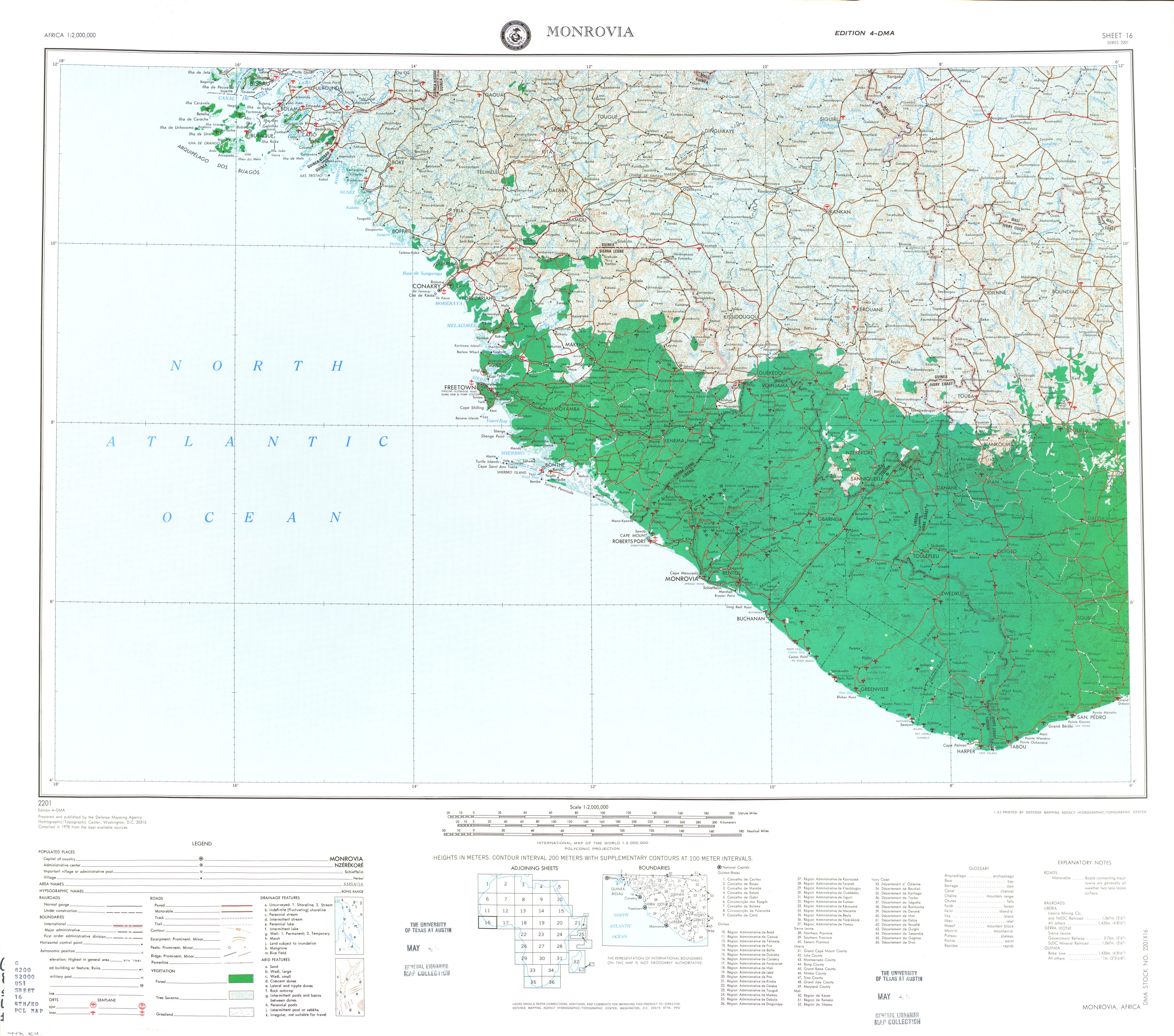 Monrovia Topographic Sheet Map, Africa 1978
