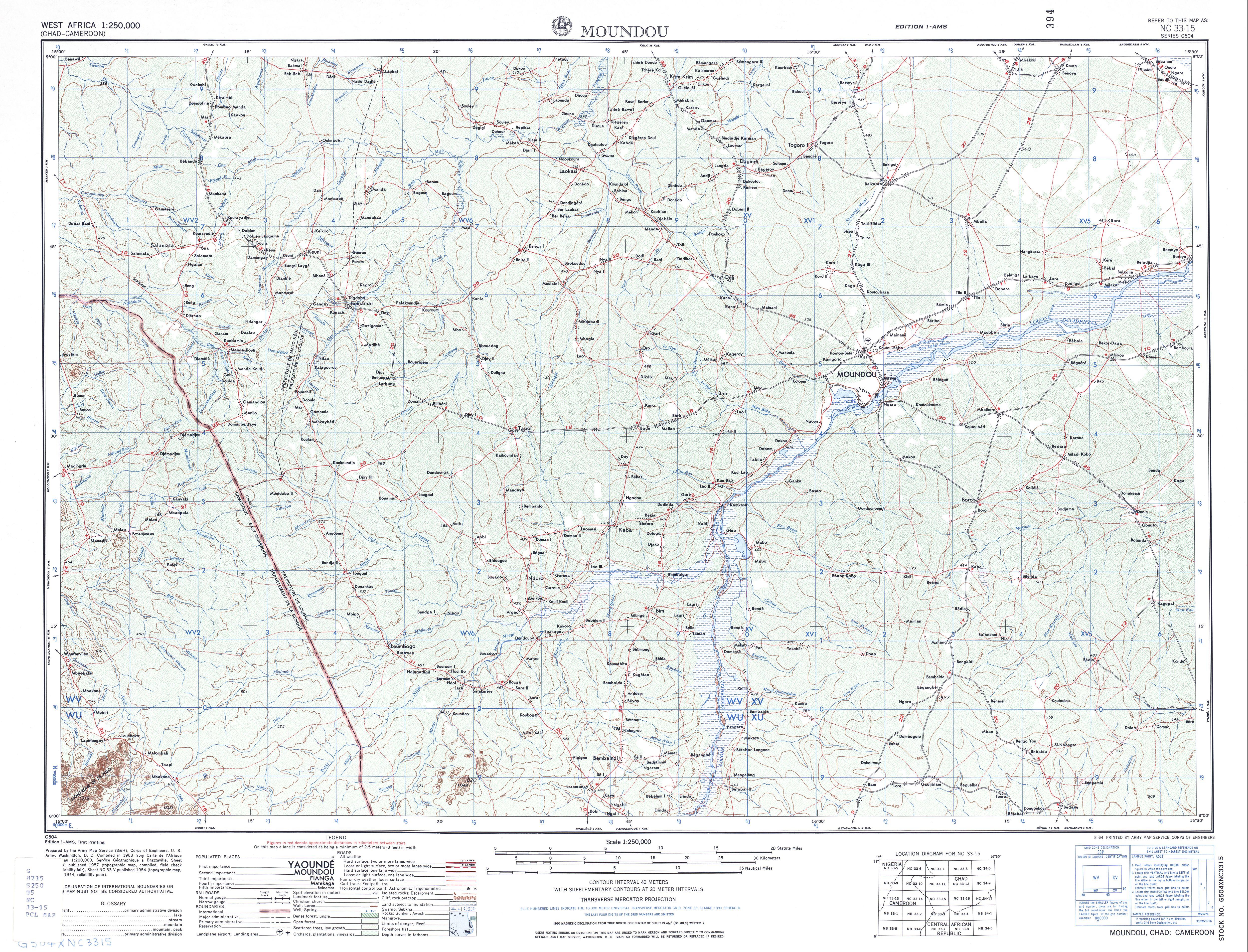 Hoja Moundou del Mapa Topográfico de África Occidental 1955